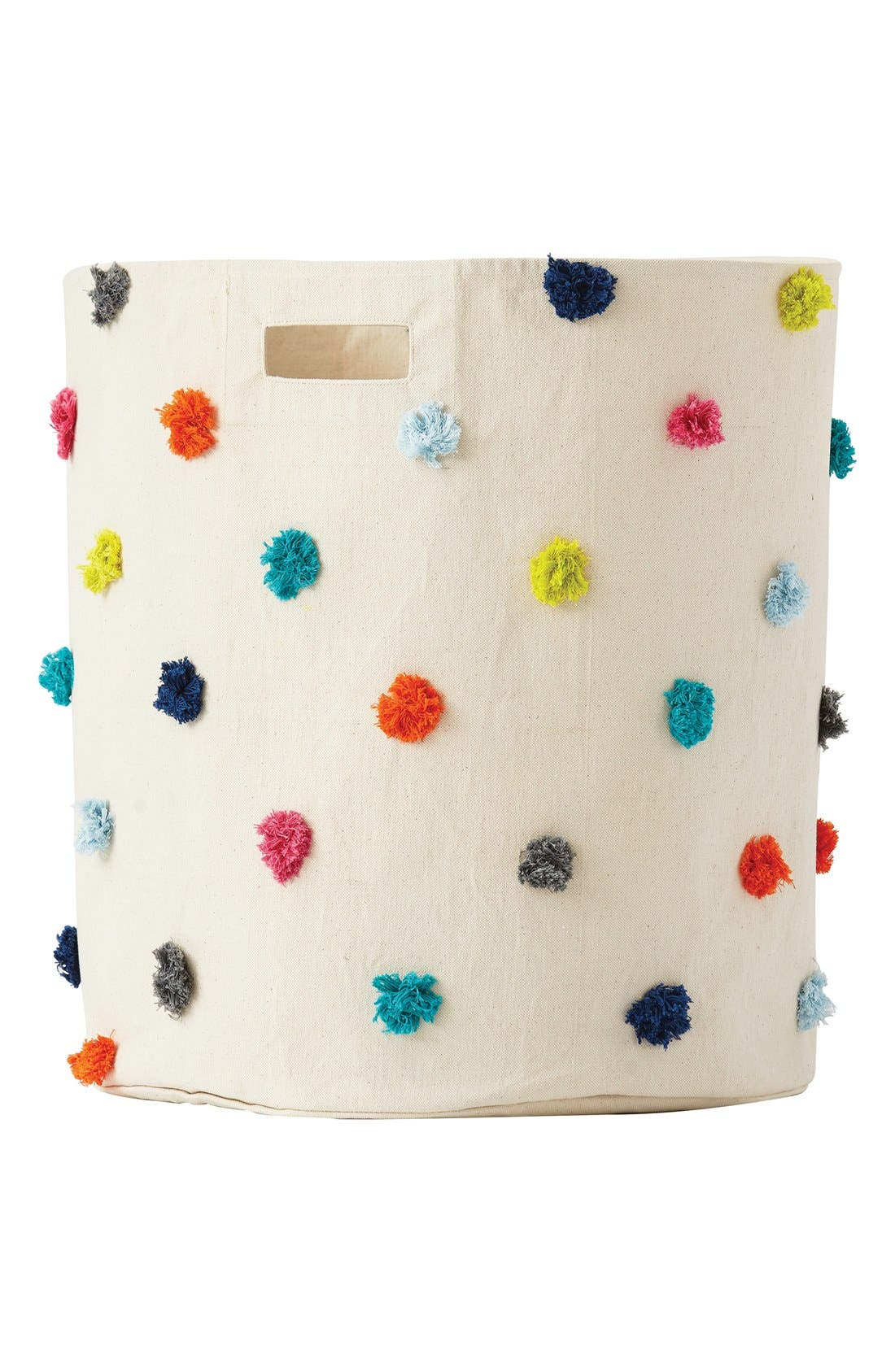 Canvas Hamper,                             Main thumbnail 1, color,                             Pom Pom