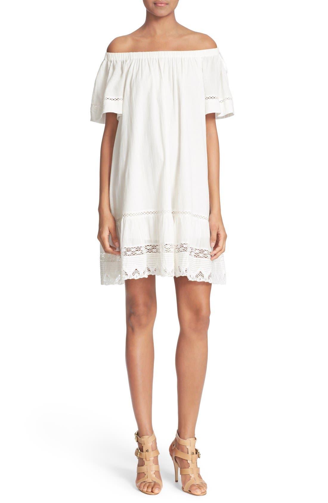 Off the Shoulder Cotton Dress,                         Main,                         color, Snow