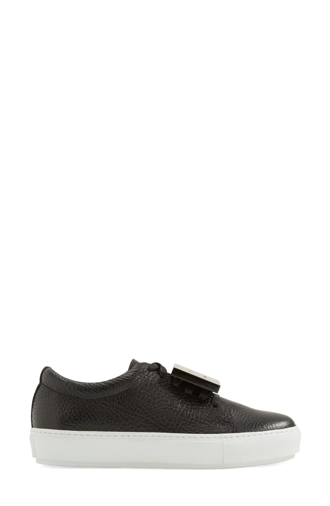 Adriana - Grain Leather Sneaker,                             Alternate thumbnail 4, color,                             Black Leather