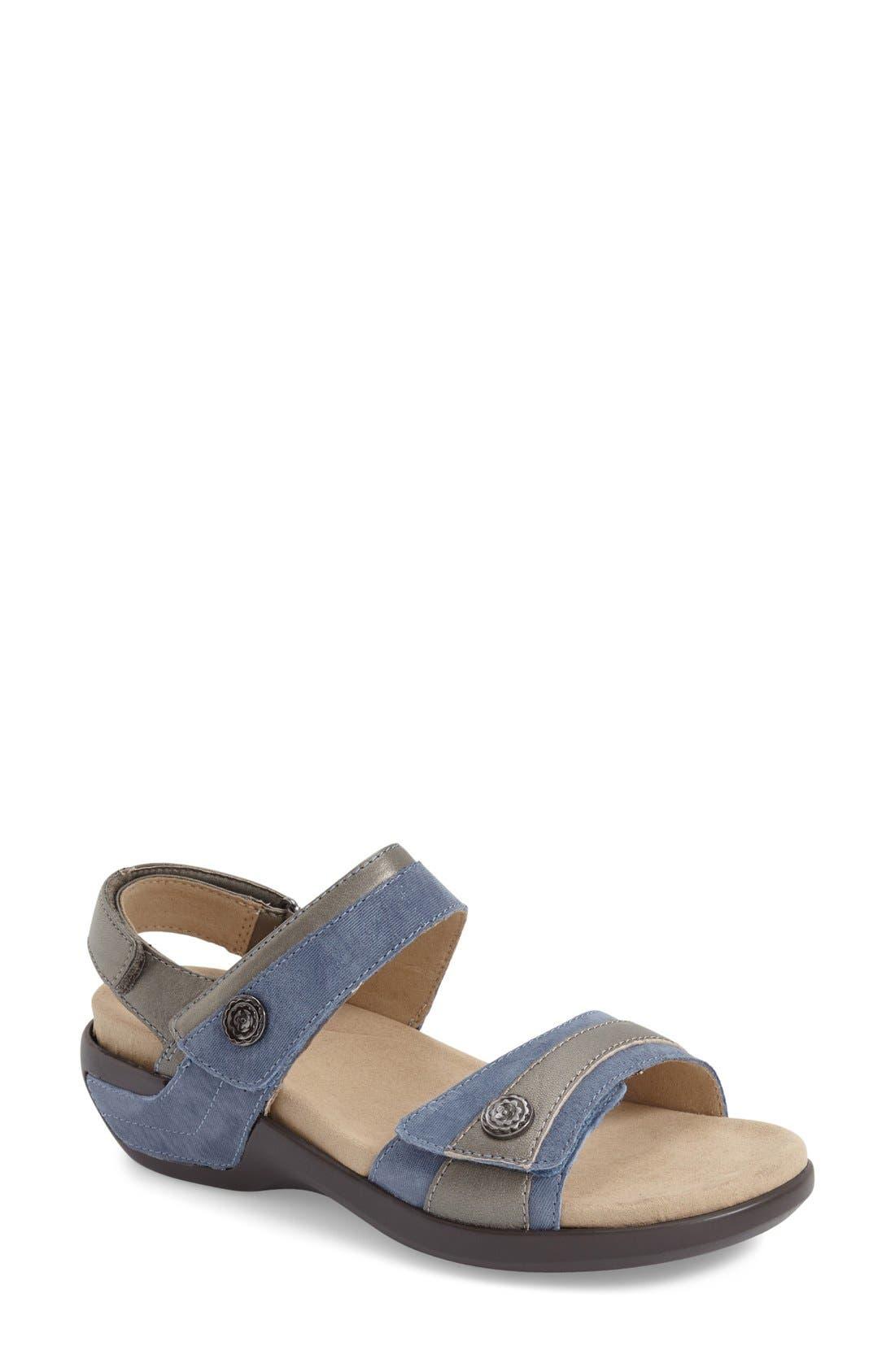 'Katherine' Sandal,                         Main,                         color, Blue Leather