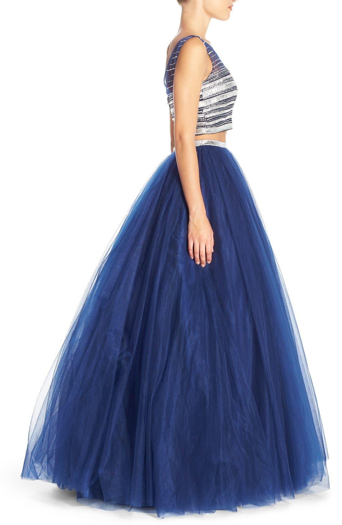 Alternate Image 3  - JVN by Jovani Embellished Top & Mesh Two-Piece Ballgown