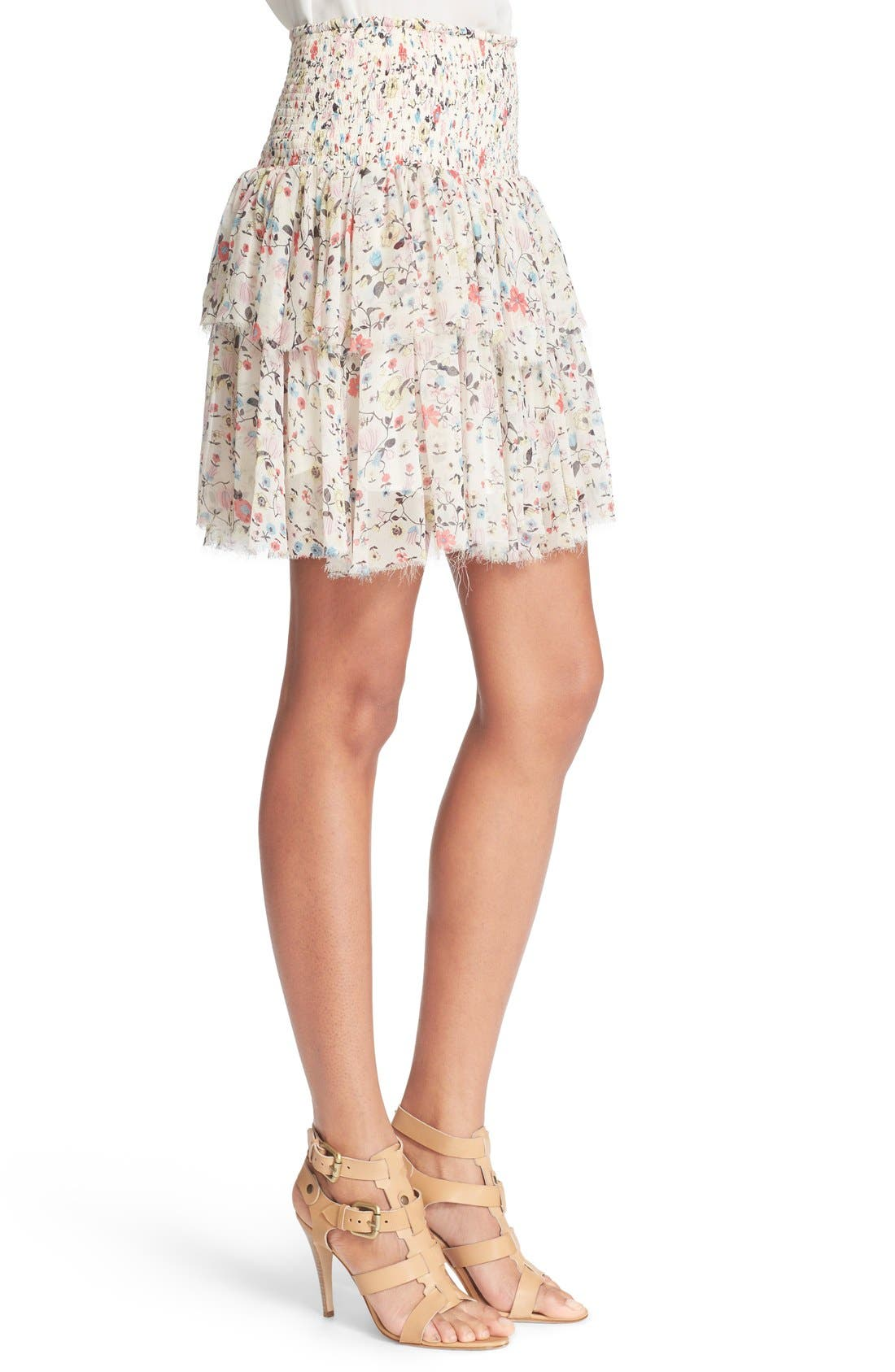 'Tapestry Grid' Floral Print Silk Skirt,                             Alternate thumbnail 3, color,                             Creamsicle