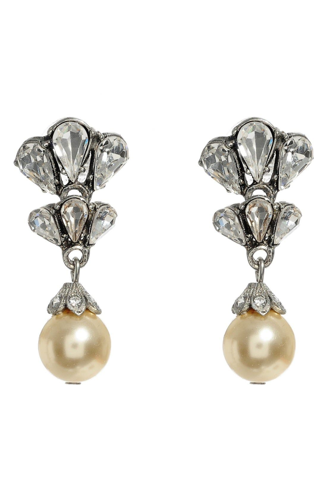 Faux Pearl Drop Earrings,                         Main,                         color, Silver