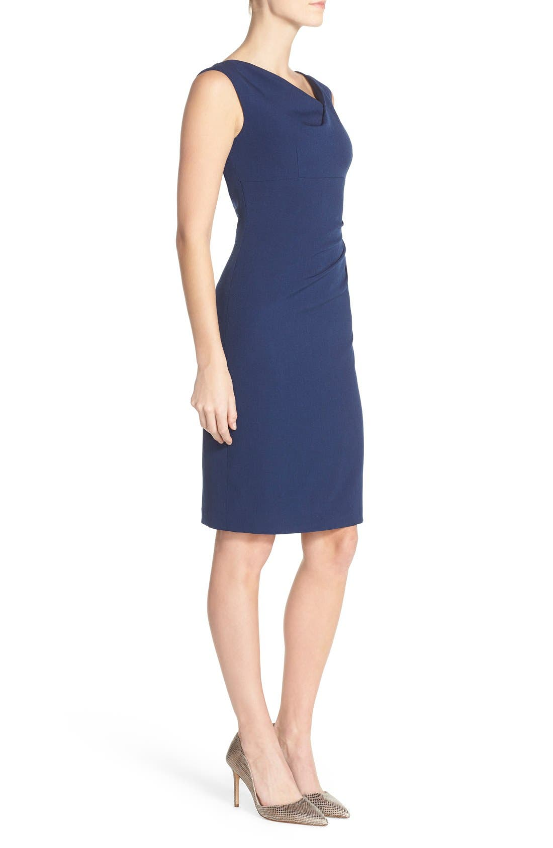 Drape Neck Crepe Sheath Dress,                             Alternate thumbnail 3, color,                             Dusk