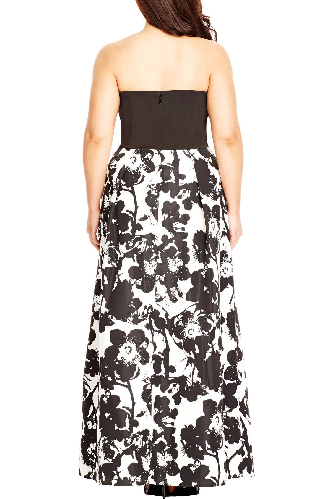 Alternate Image 2  - City Chic 'Painted Poppy' Strapless Maxi Dress (Plus Size)