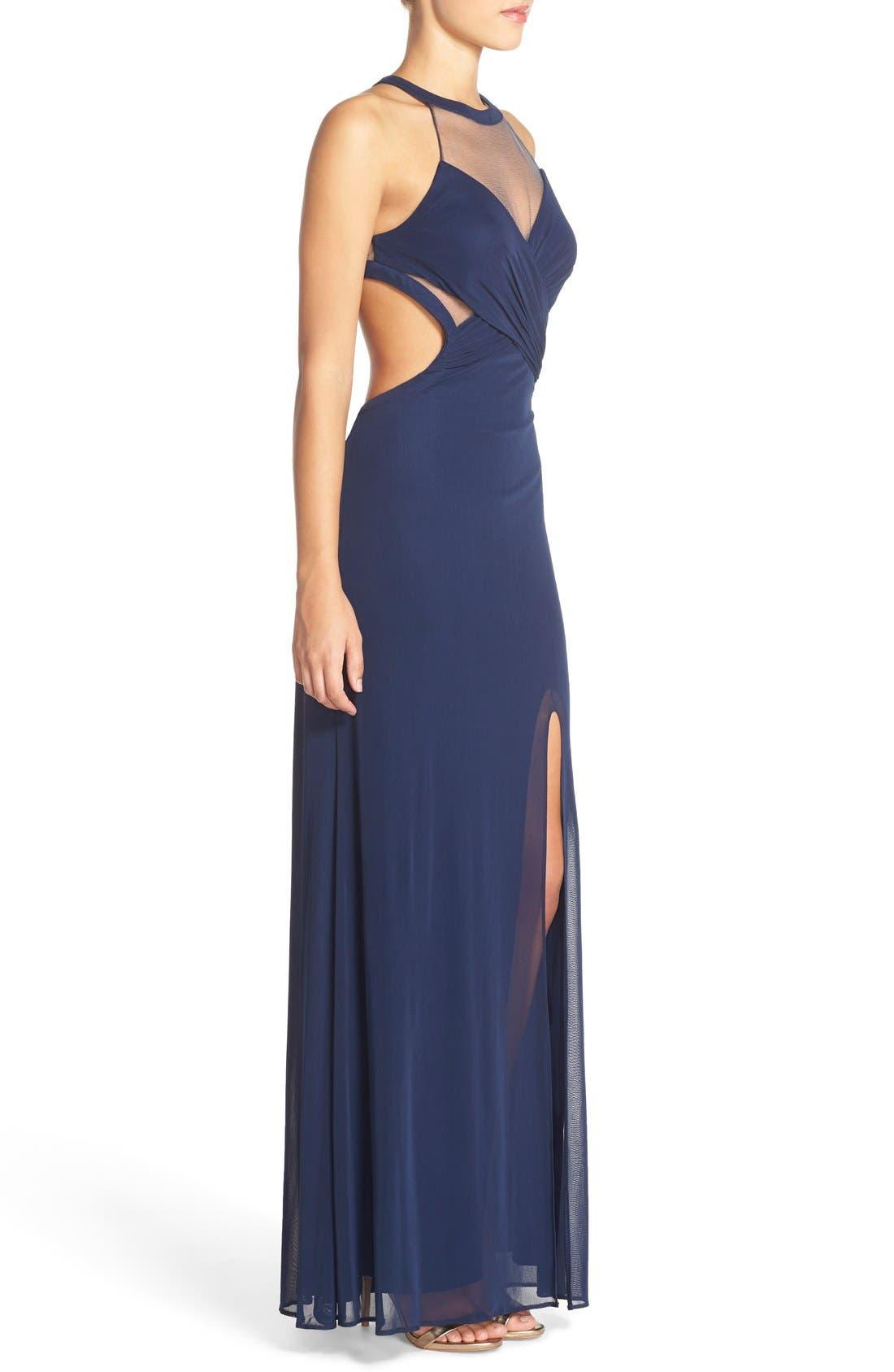 Alternate Image 3  - Abbi Von Cutout Net Jersey Gown