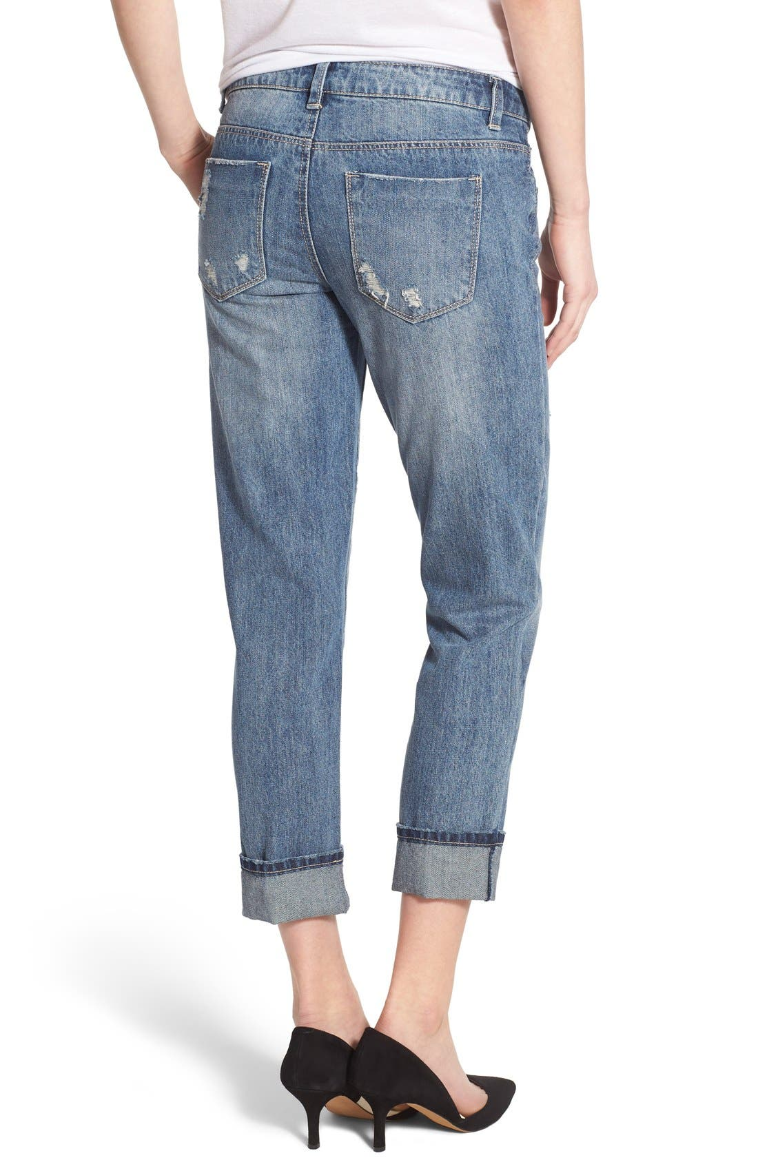 Alternate Image 2  - Generra Distressed Slim Boyfriend Jeans (Carren)
