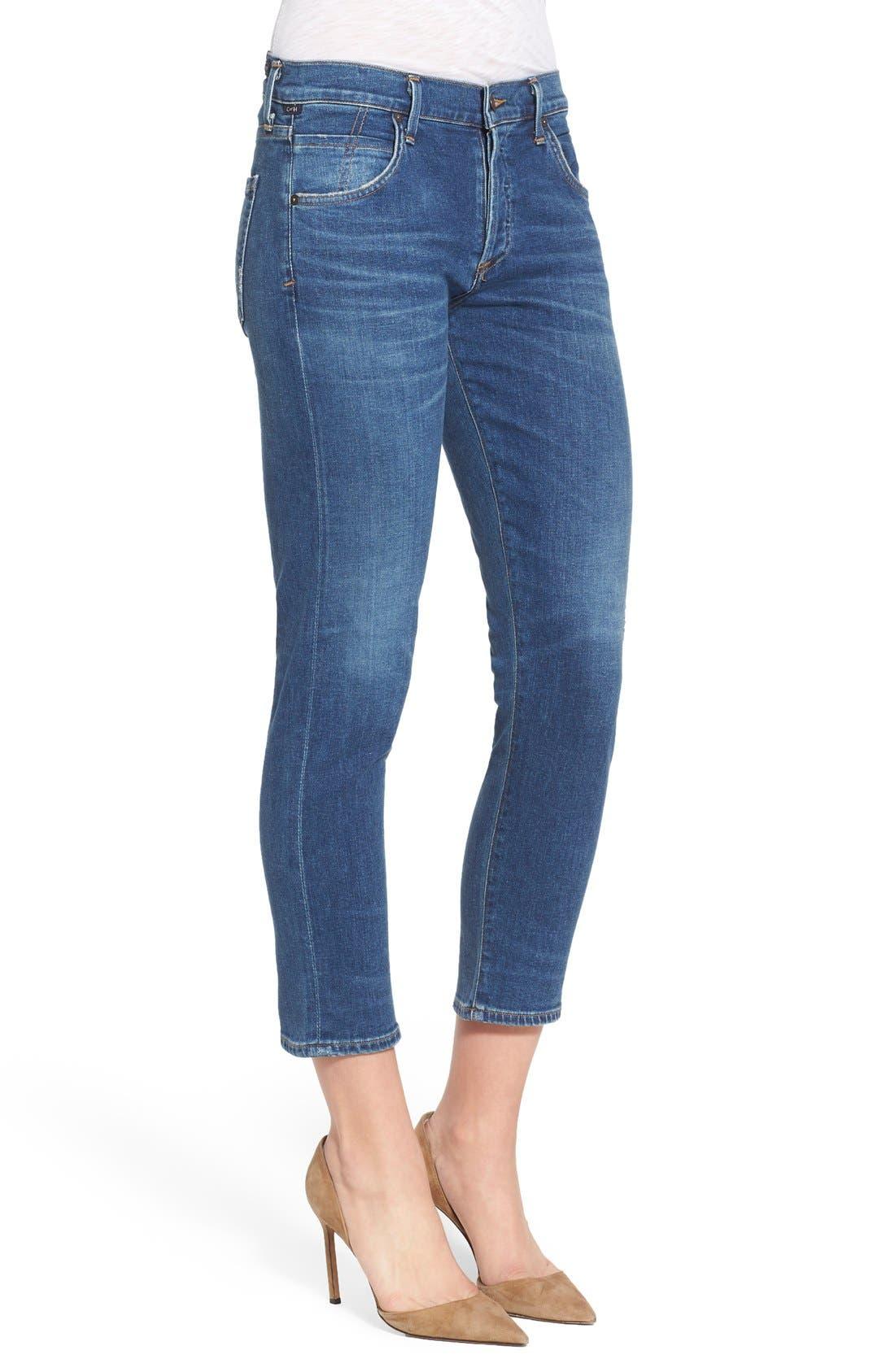 'Elsa' Crop Slim Jeans,                             Alternate thumbnail 3, color,                             Taos