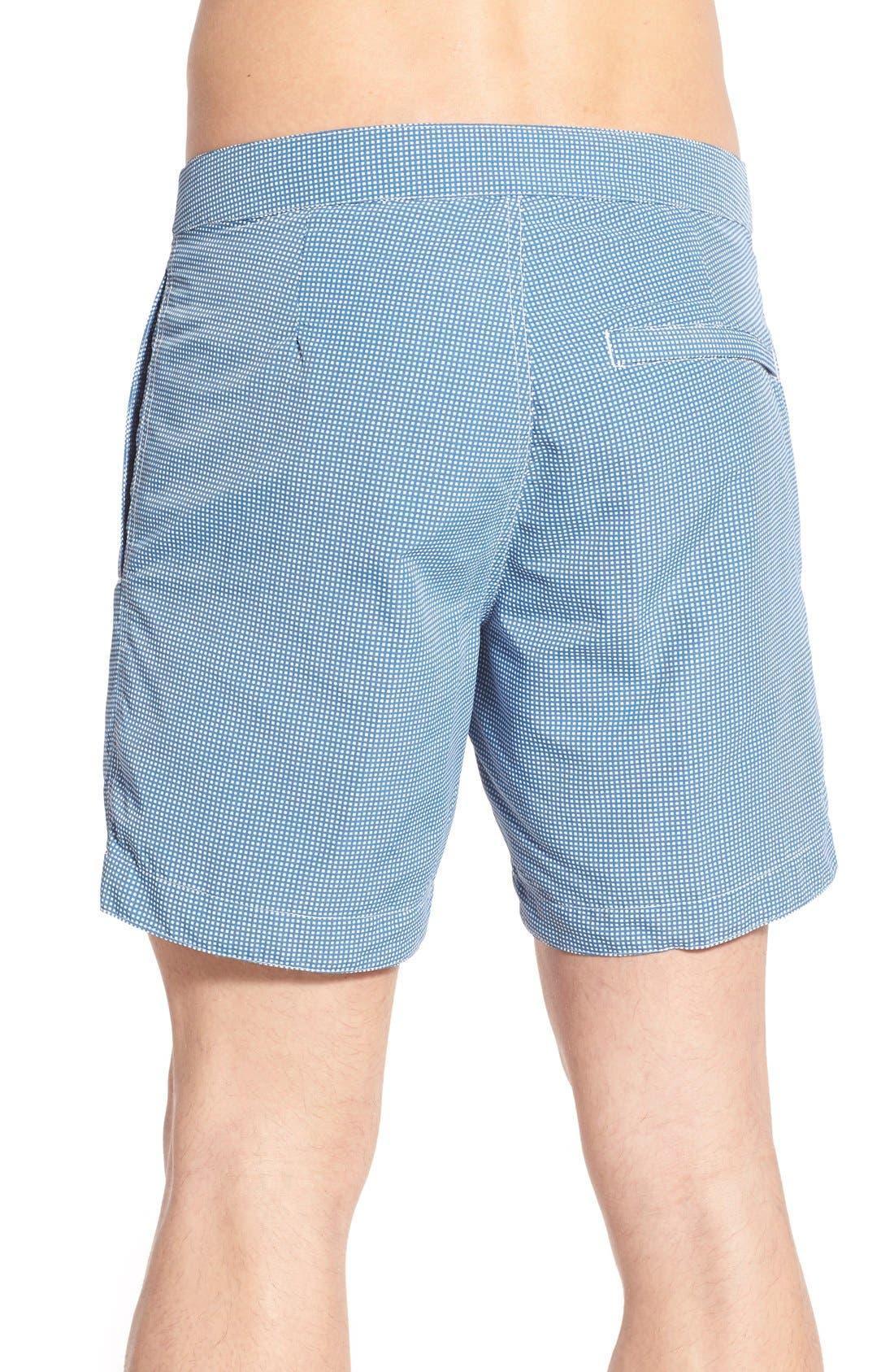 Aruba Tailored Fit Microcheck Swim Trunks,                             Alternate thumbnail 2, color,                             Micro Square Ash Blue