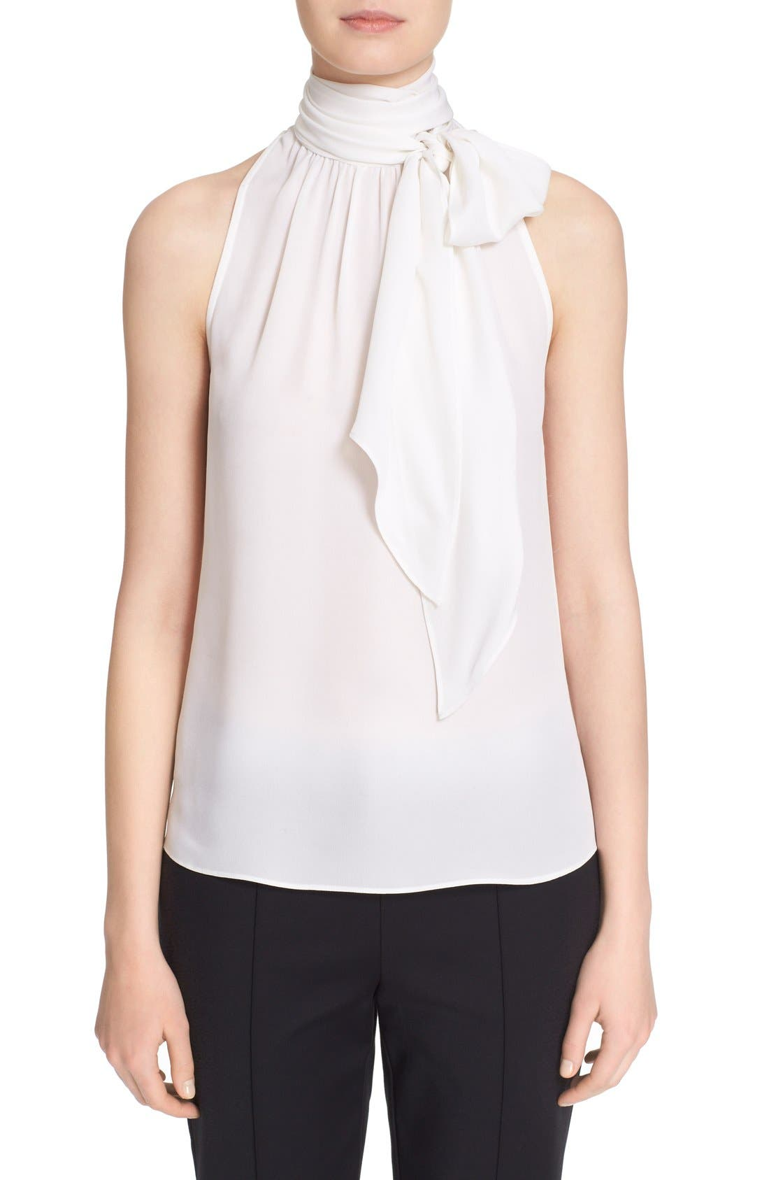 Main Image - St. John Collection Tie Neck Silk Georgette Shell