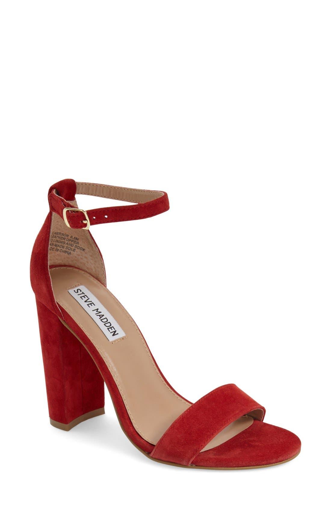 Carrson Sandal,                         Main,                         color, Red Suede