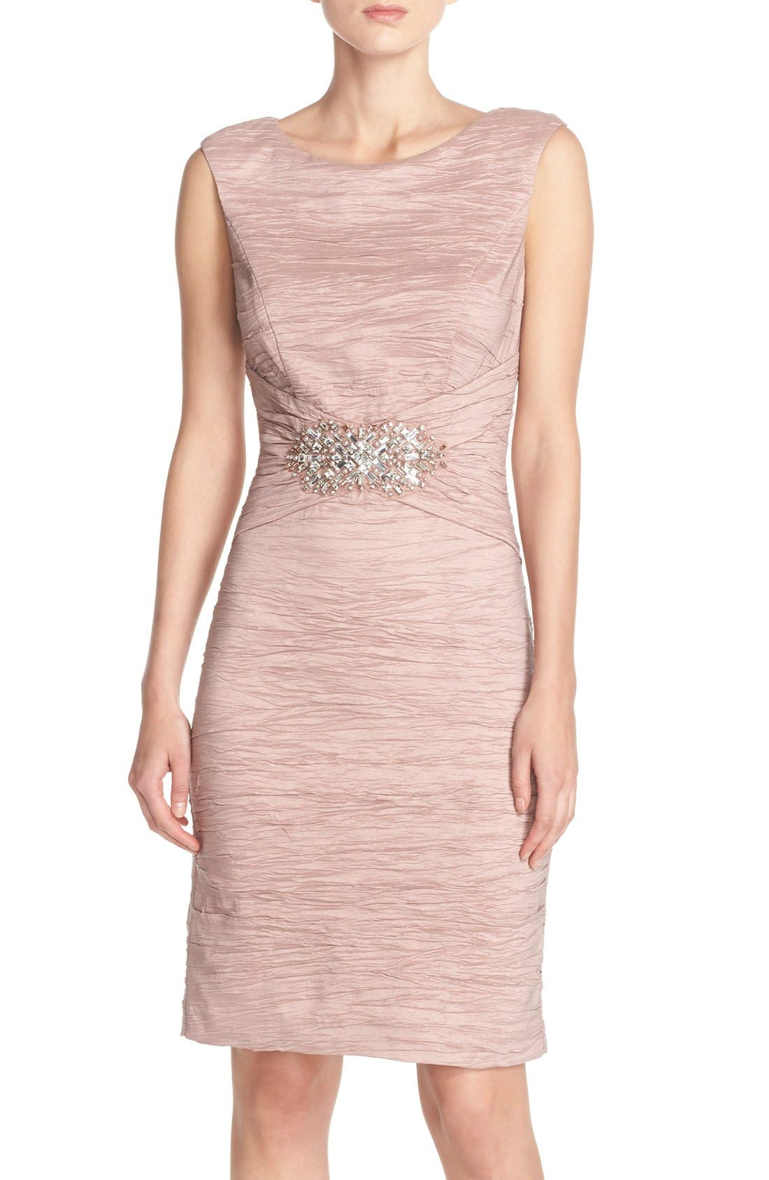 Eliza J Embellished Taffeta Sheath Dress