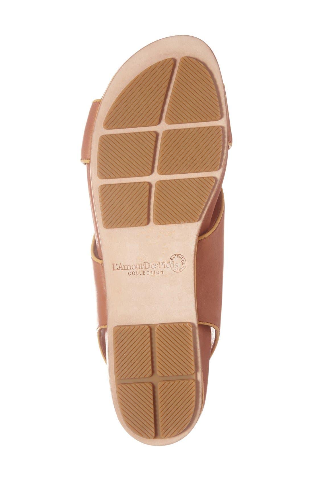 'Dallon' Crisscross Flat Sandal,                             Alternate thumbnail 4, color,                             Cognac Leather