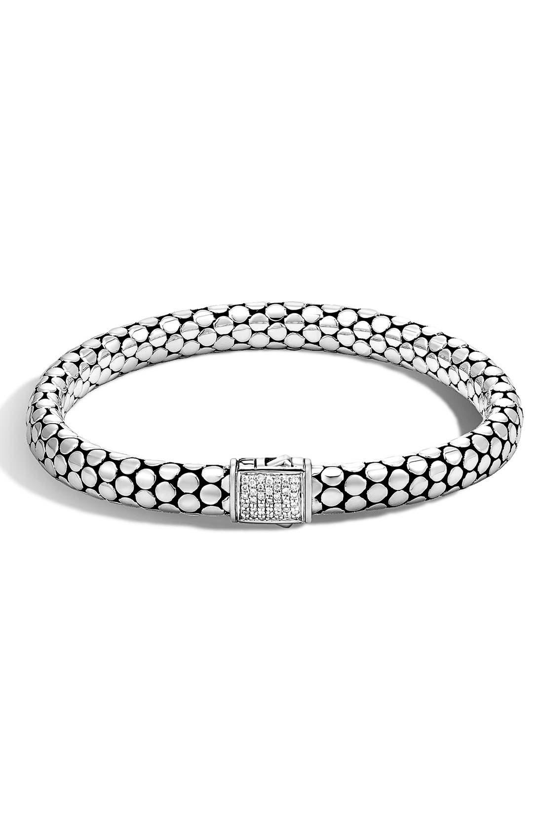 'Dot' Small Diamond Bracelet,                             Main thumbnail 1, color,                             Silver
