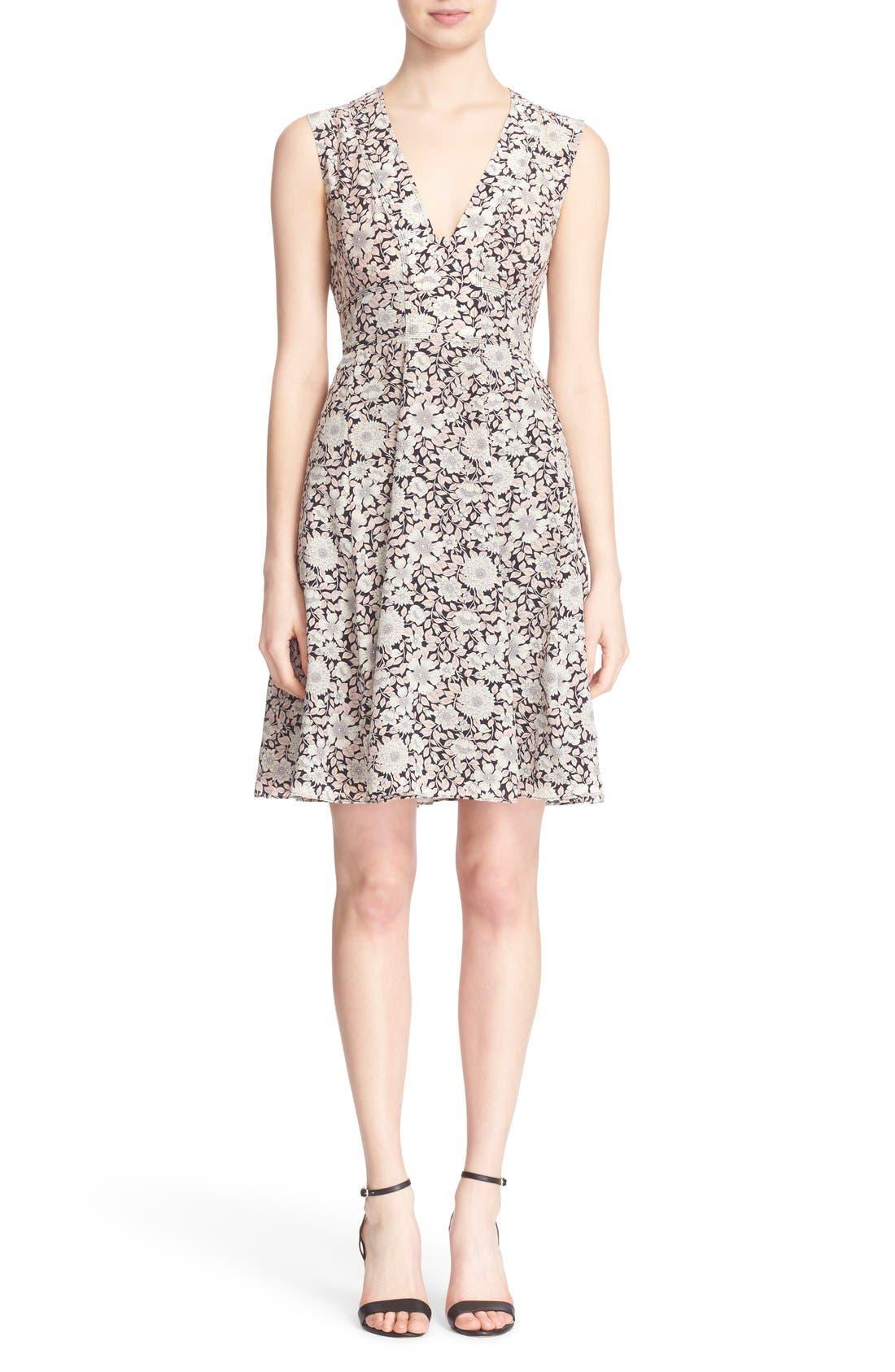 Main Image - Rebecca Taylor 'Lindsay' Floral Print Sleeveless Silk Fit & Flare Dress