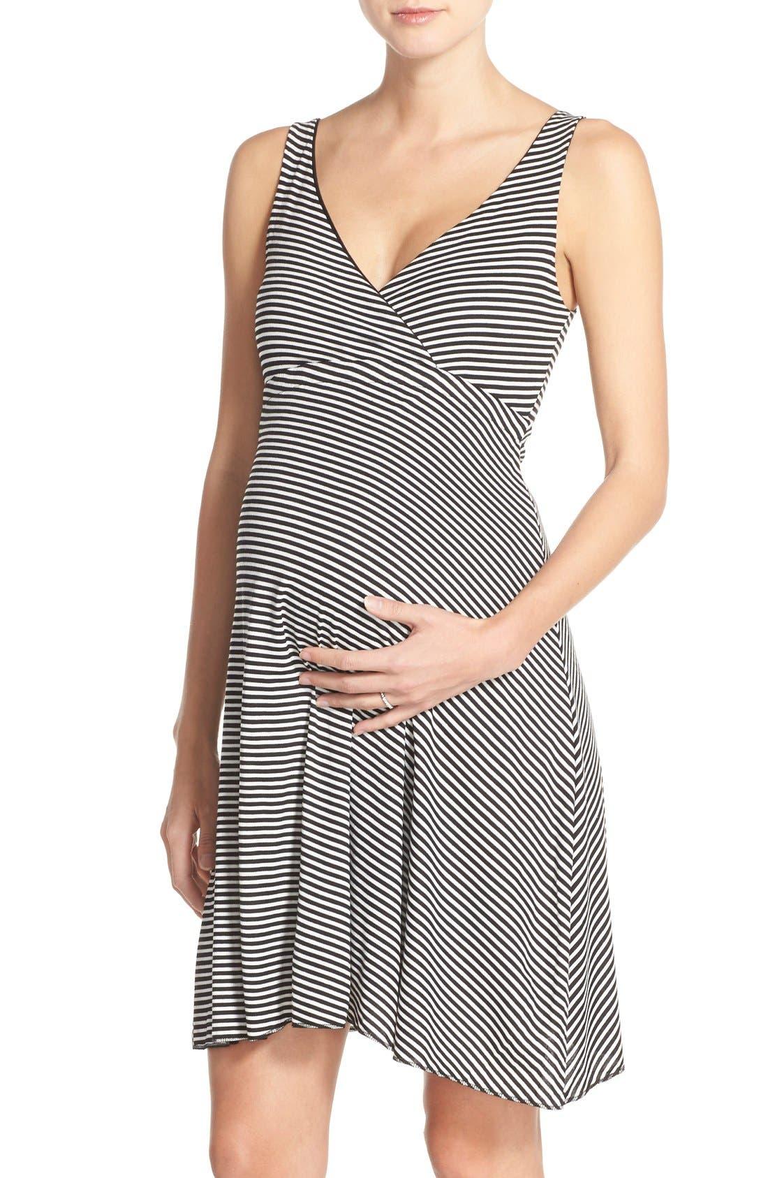 Reversible Nursing Dress,                             Main thumbnail 1, color,                             Black Stripe
