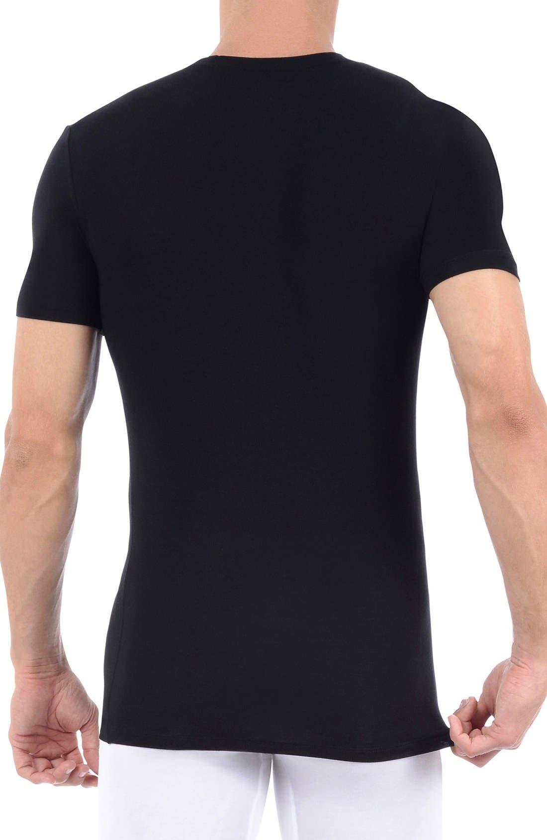Cool Cotton Crewneck Undershirt,                             Alternate thumbnail 2, color,                             Black
