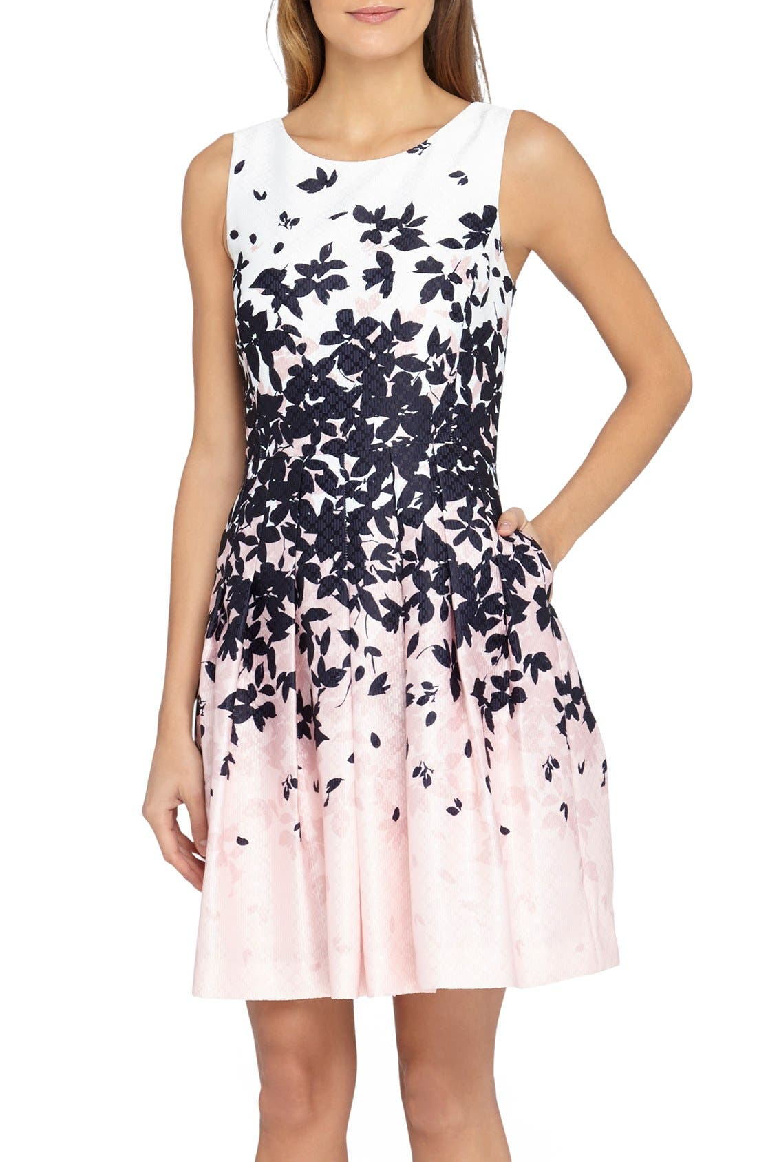 Main Image - Tahari Floral Jacquard Fit & Flare Dress (Regular & Petite)