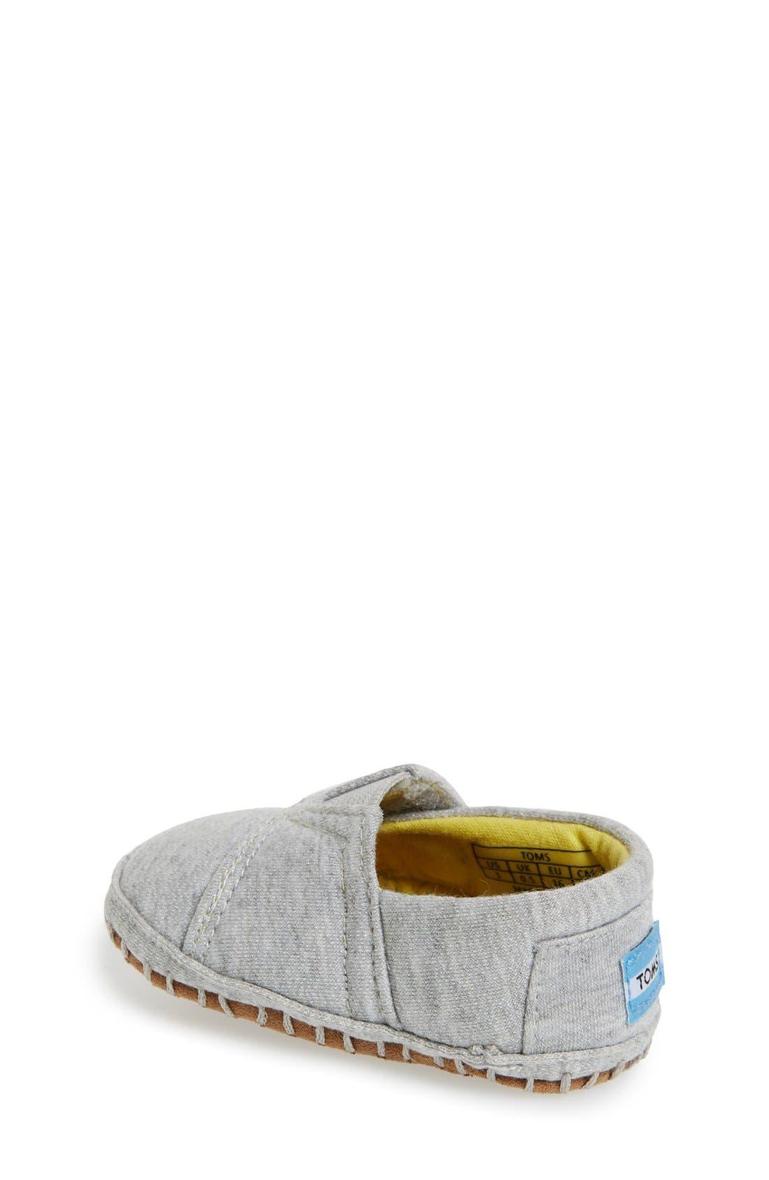 Alpargata Chambray Crib Shoe,                             Alternate thumbnail 4, color,                             Grey