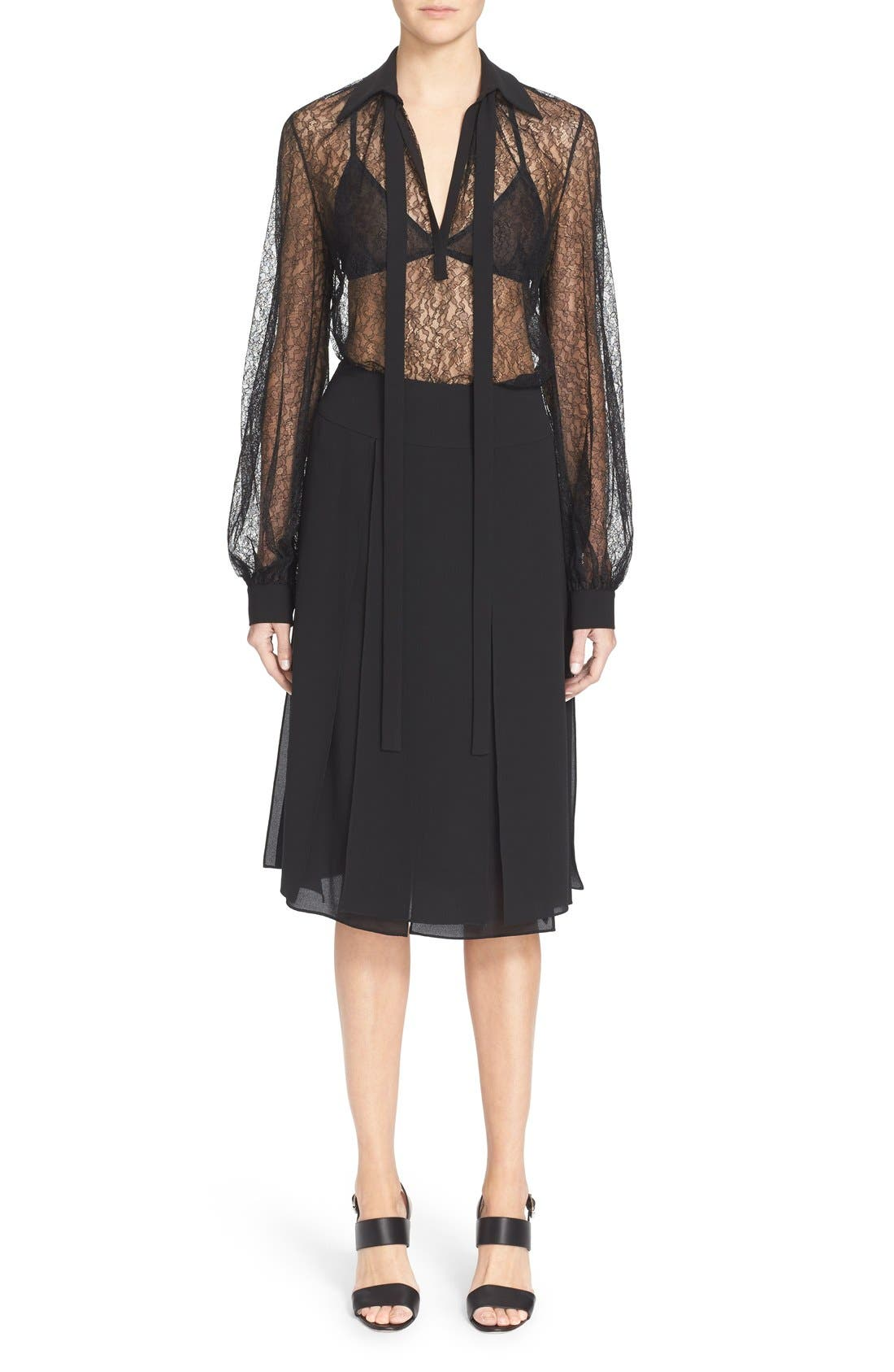 Alternate Image 1 Selected - Michael Kors Tie Neck Chantilly Lace Blouse