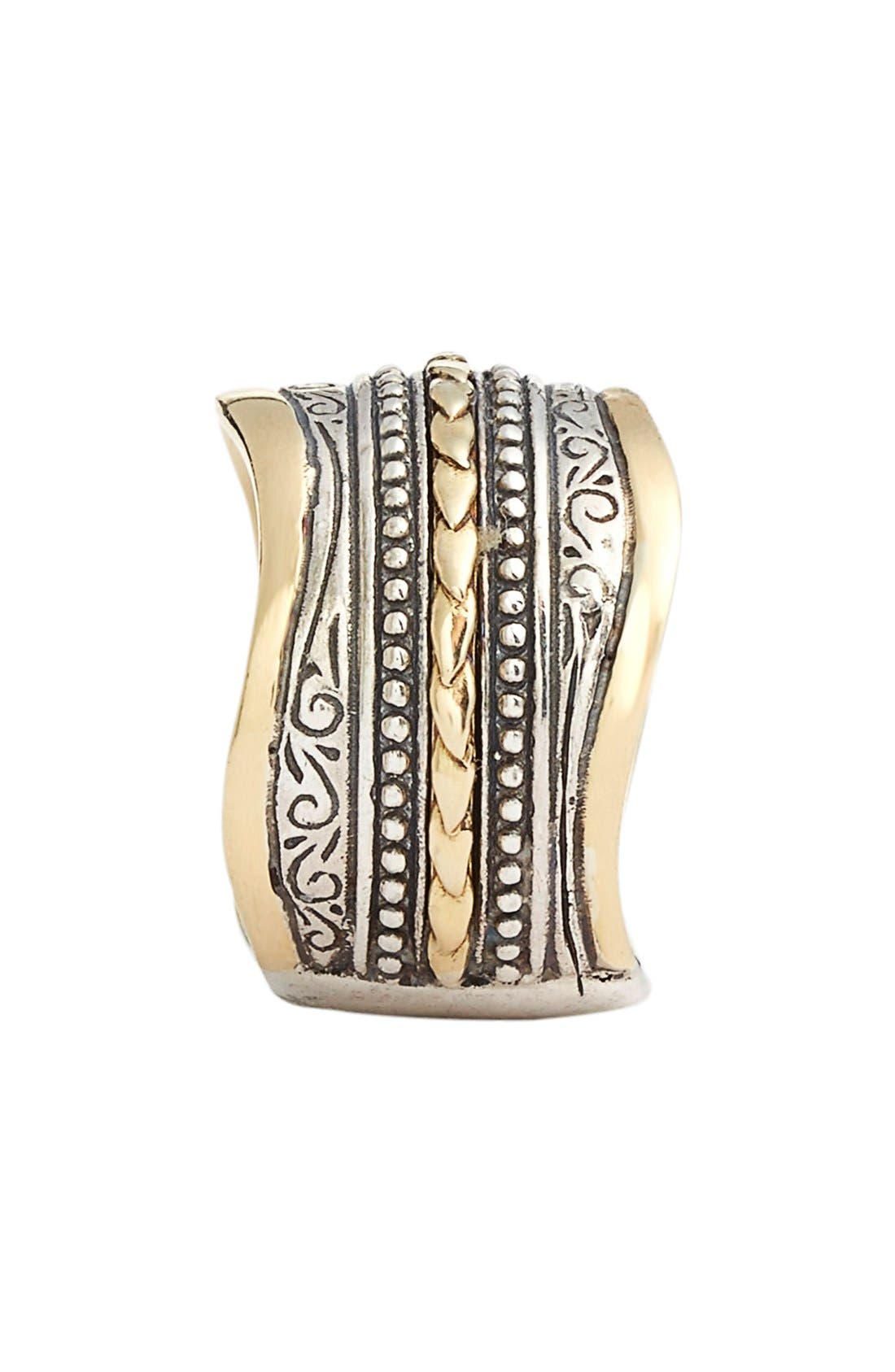 'Hebe' Wavy Etched Band Ring,                             Alternate thumbnail 2, color,                             Silver/ Gold