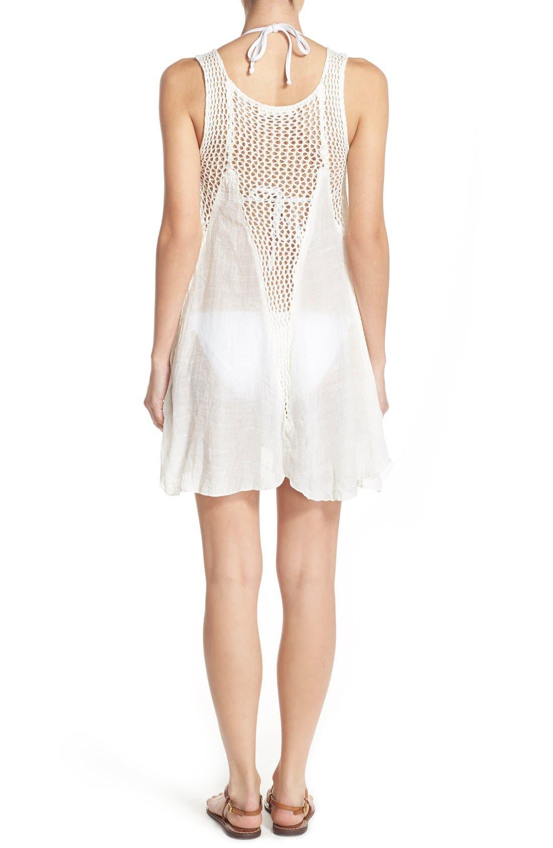 Alternate Image 2  - Elan Crochet Inset Cover-Up Dress
