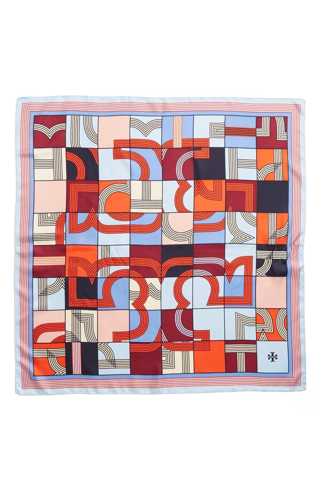 'Logo Puzzle' Silk Square Scarf,                             Alternate thumbnail 2, color,                             Poolside