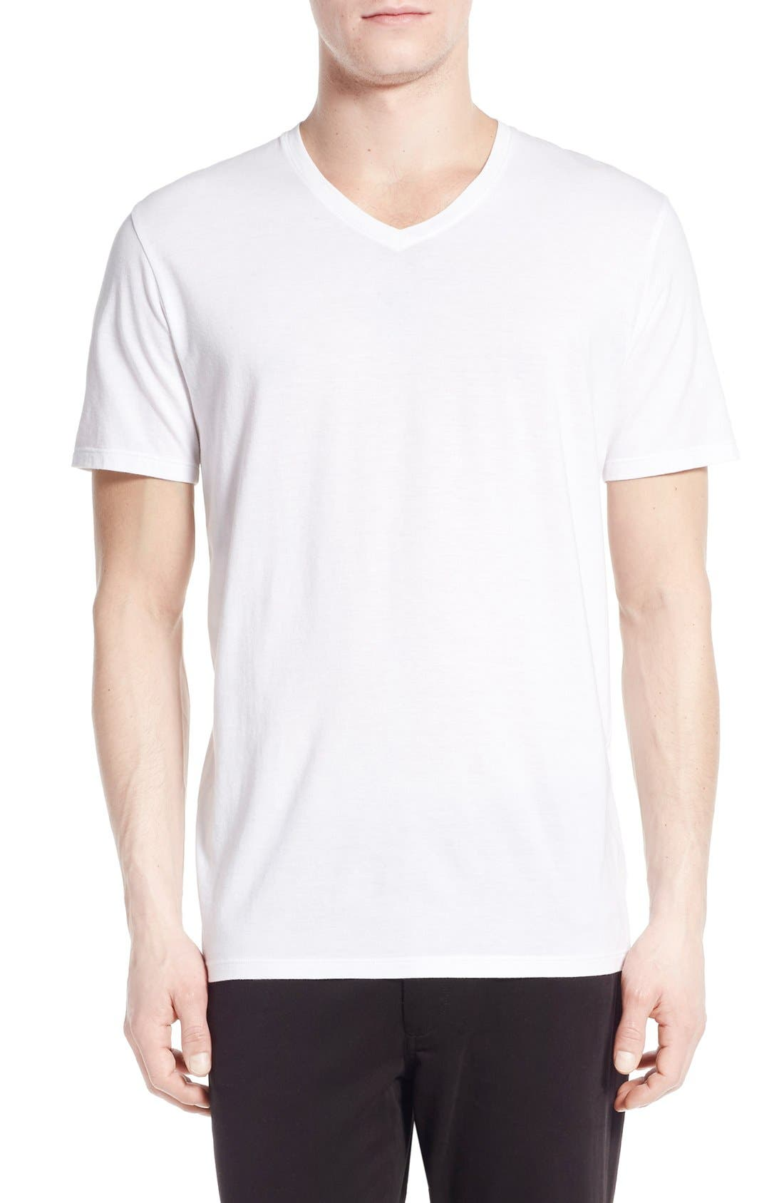 Pima Cotton V-Neck T-Shirt,                         Main,                         color, Optic White