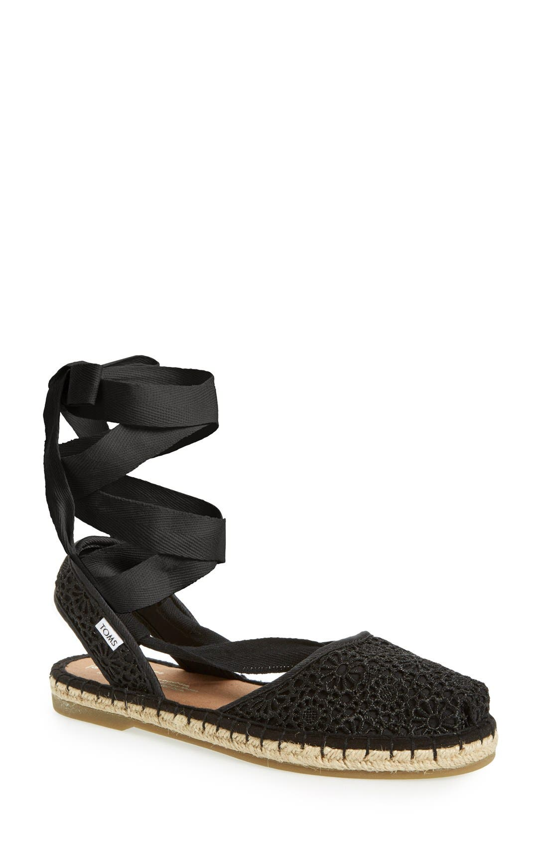 'Bella' Espadrille Sandal,                             Main thumbnail 1, color,                             Black Crochet