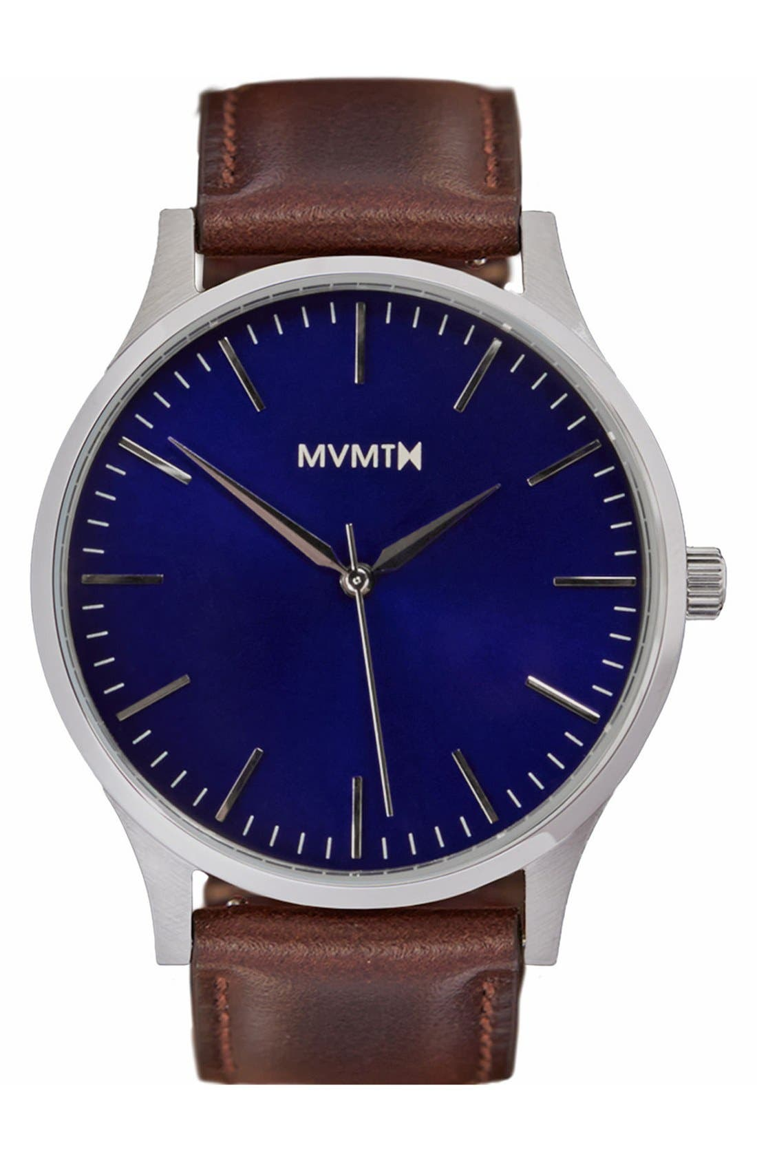 Leather Strap Watch, 40mm,                         Main,                         color, Brown/ Silver/ Blue