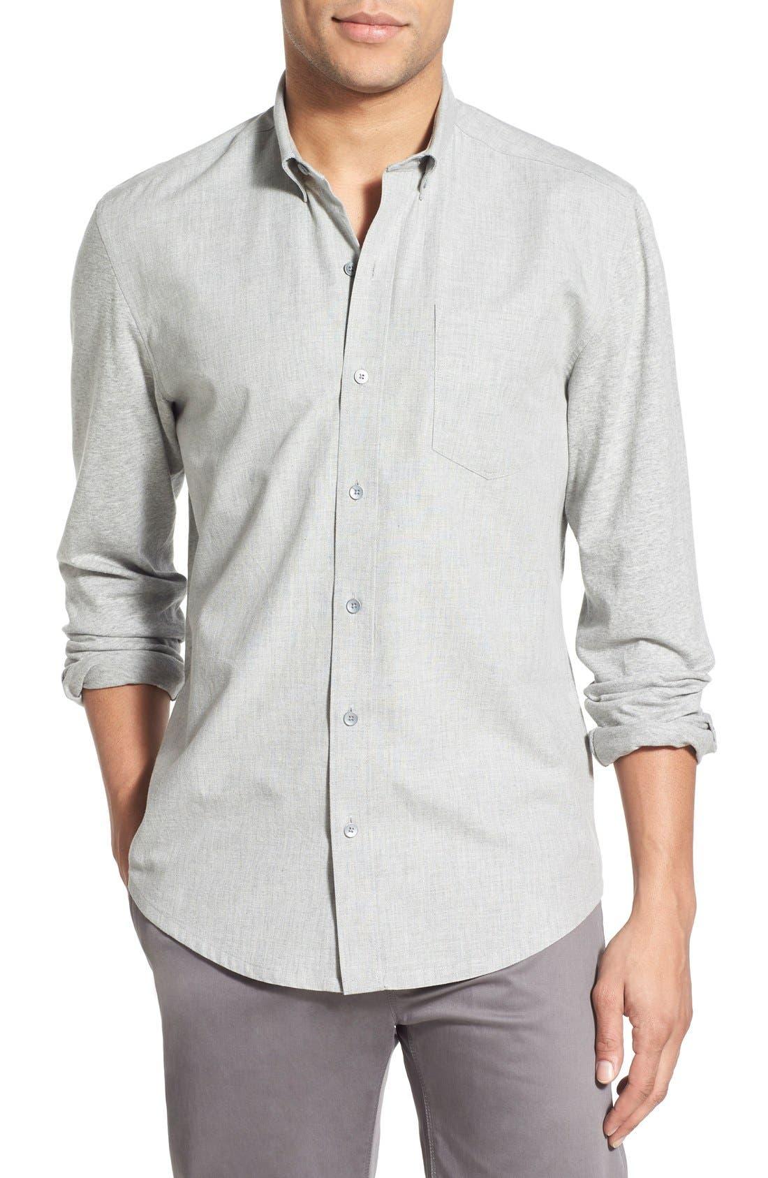 'Reworked' Trim Fit Sport Shirt,                         Main,                         color, Light Grey Heather