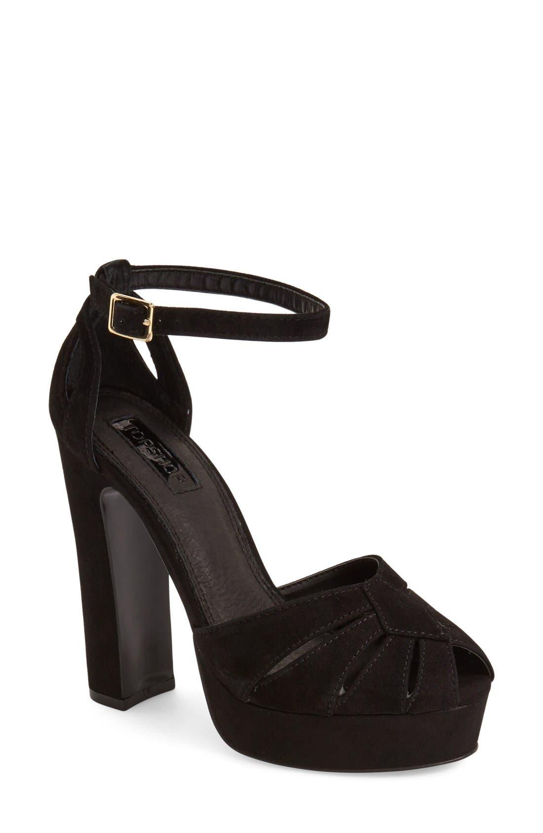 Alternate Image 1 Selected - Topshop 'Sienna' Platform Peep Toe Sandal (Women)