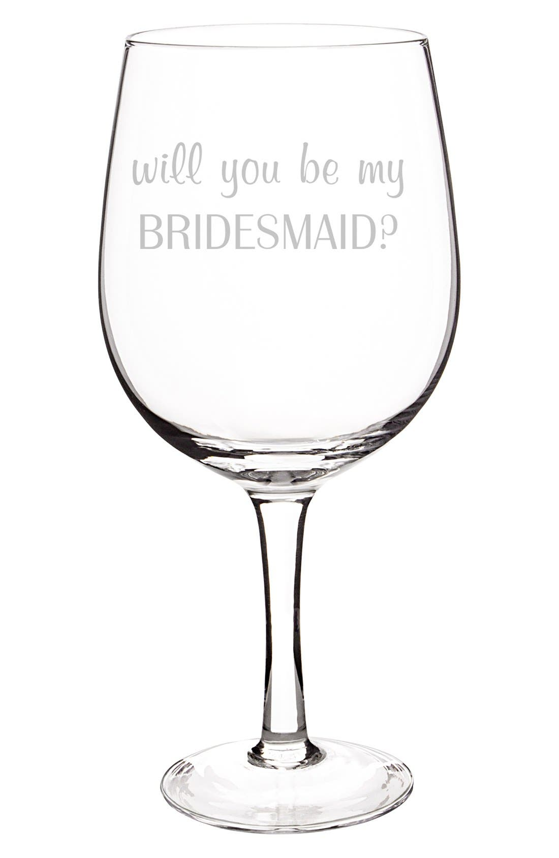 Extra Large Novelty Wine Glass,                             Alternate thumbnail 2, color,                             Bridesmaid