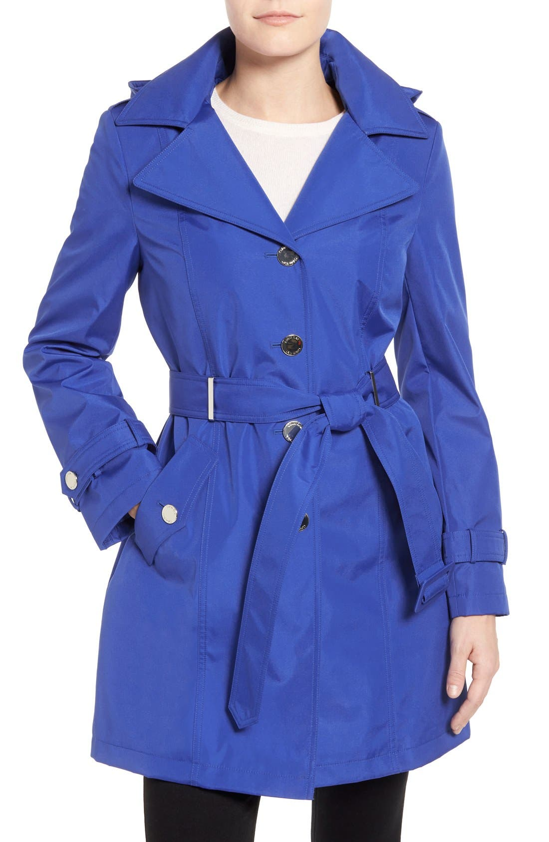 Alternate Image 1 Selected - Calvin Klein Single Breasted Belted Trench Coat (Regular & Petite)