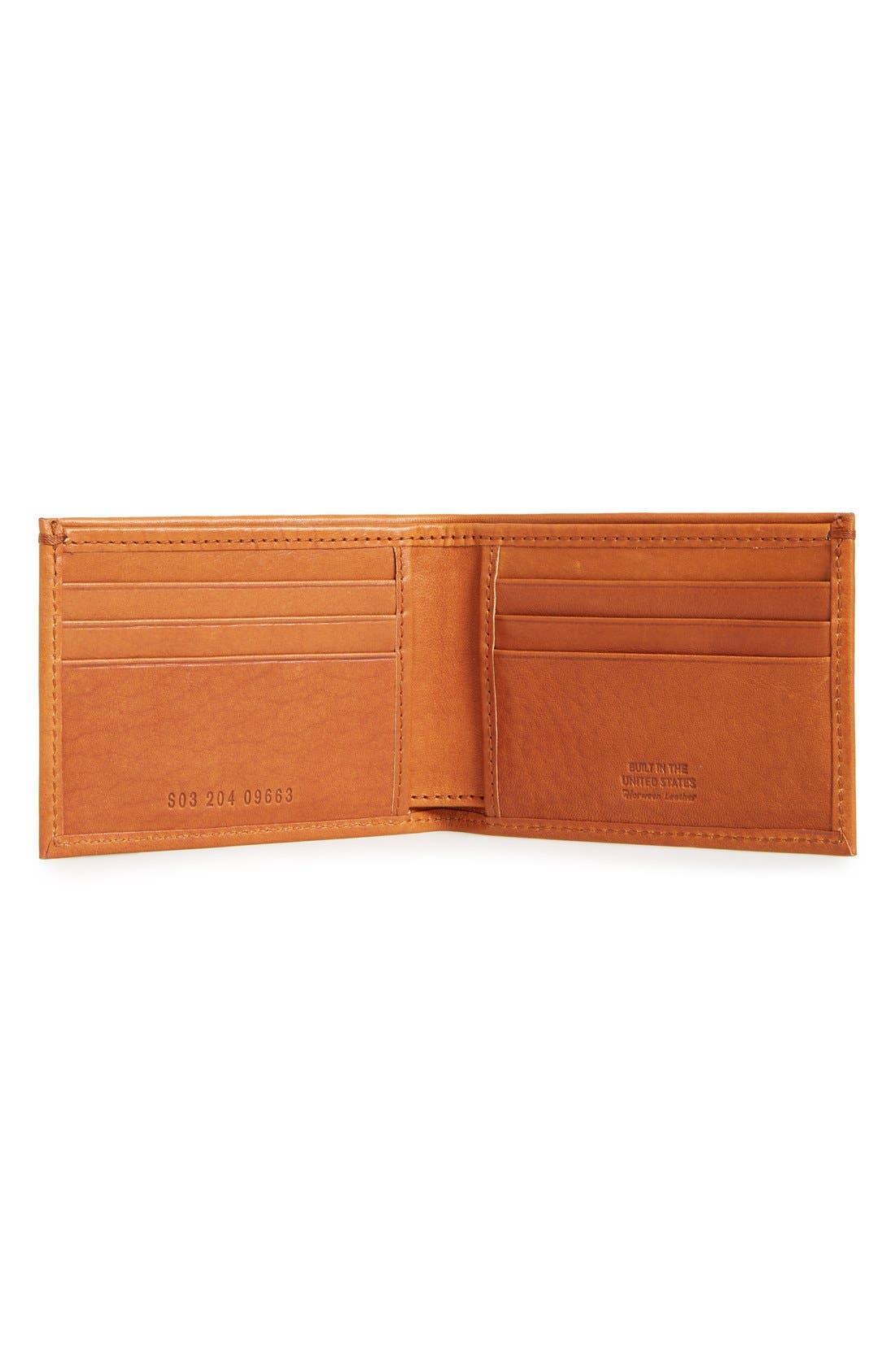 Slim Bifold Leather Wallet,                             Alternate thumbnail 2, color,                             Bourbon