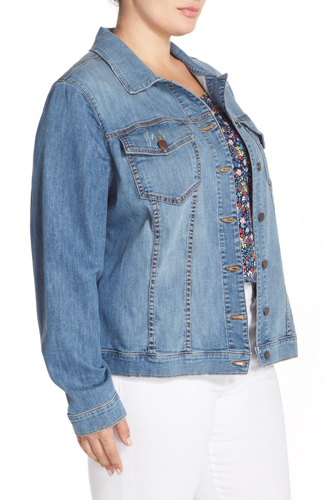 Alternate Image 3  - KUT from the Kloth Helena Distressed Denim Jacket (Plus Size)