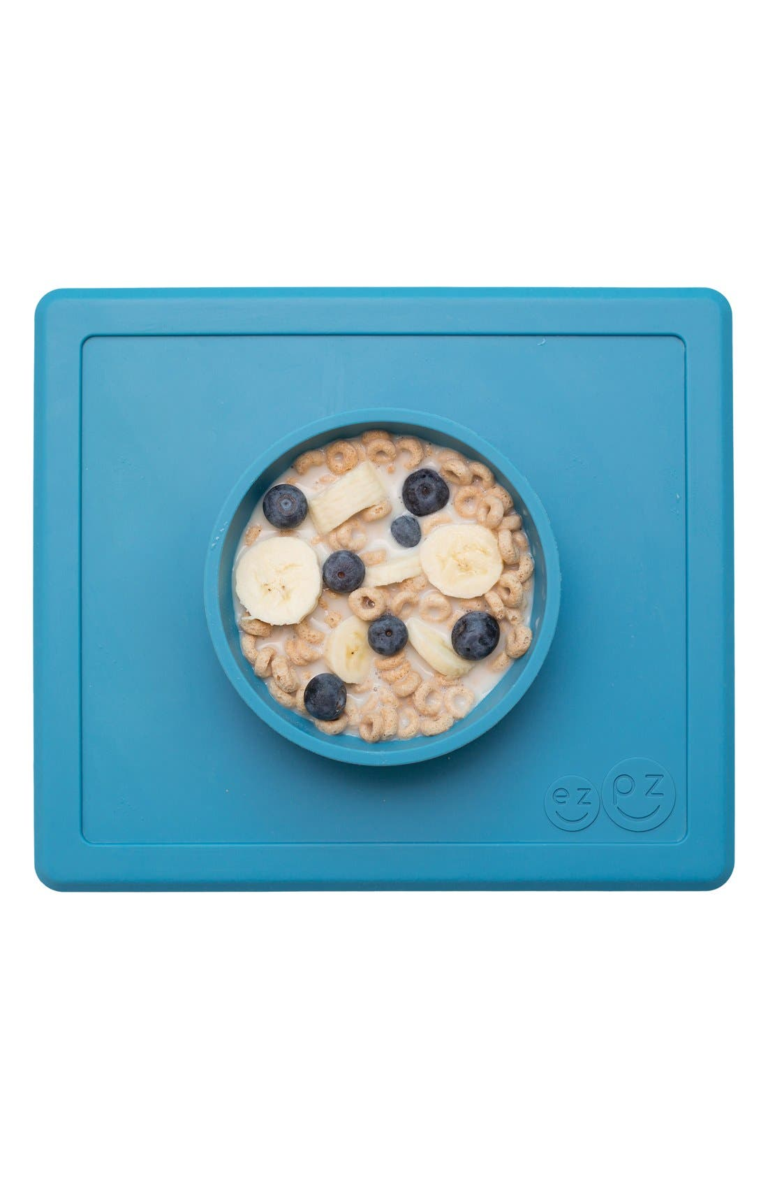 'Happy Bowl' Silicone Feeding Mat,                             Alternate thumbnail 3, color,                             Blue