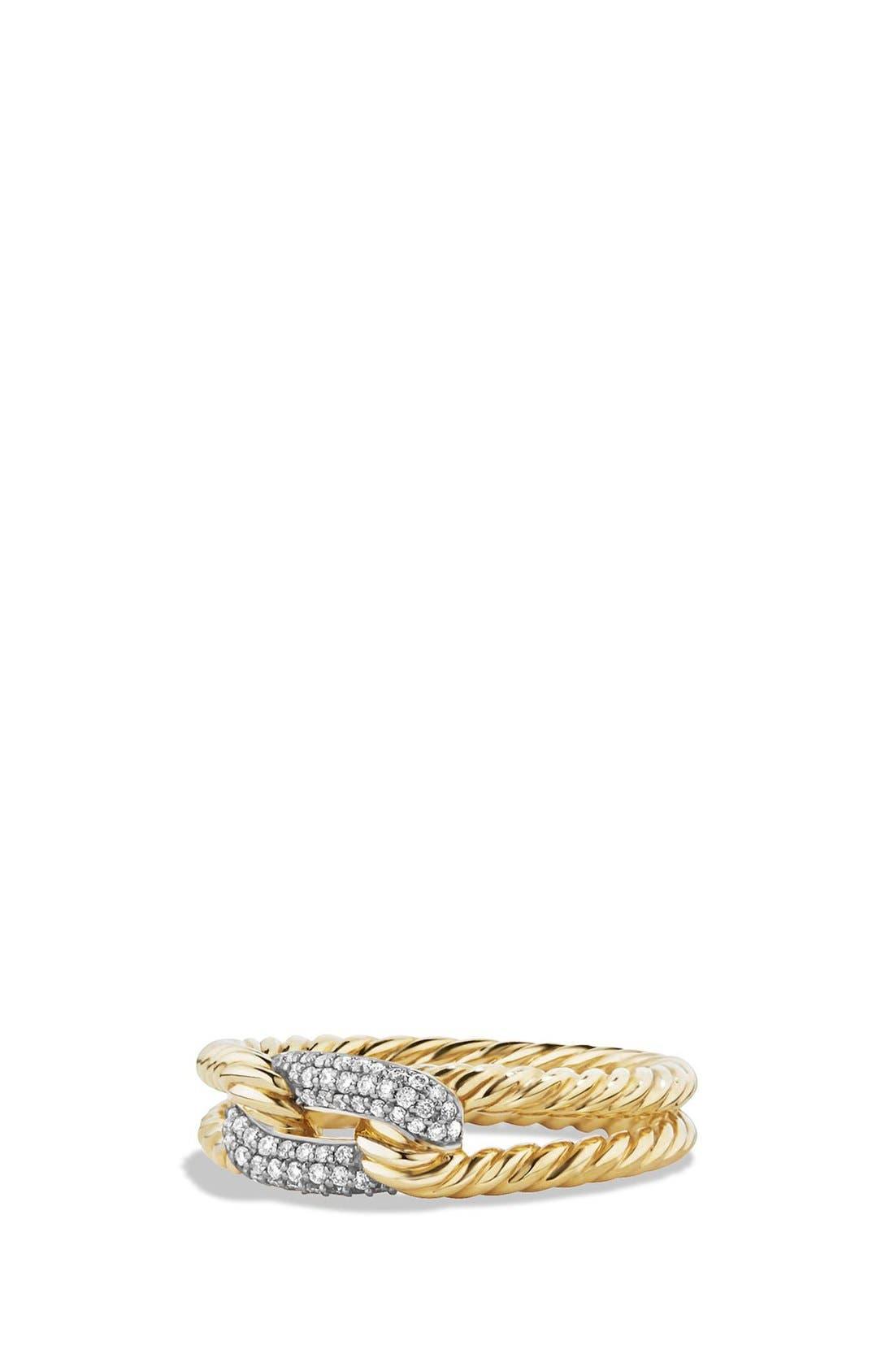 David Yurman 'Petite Pavé' Loop Ring with Diamonds in 18K Gold