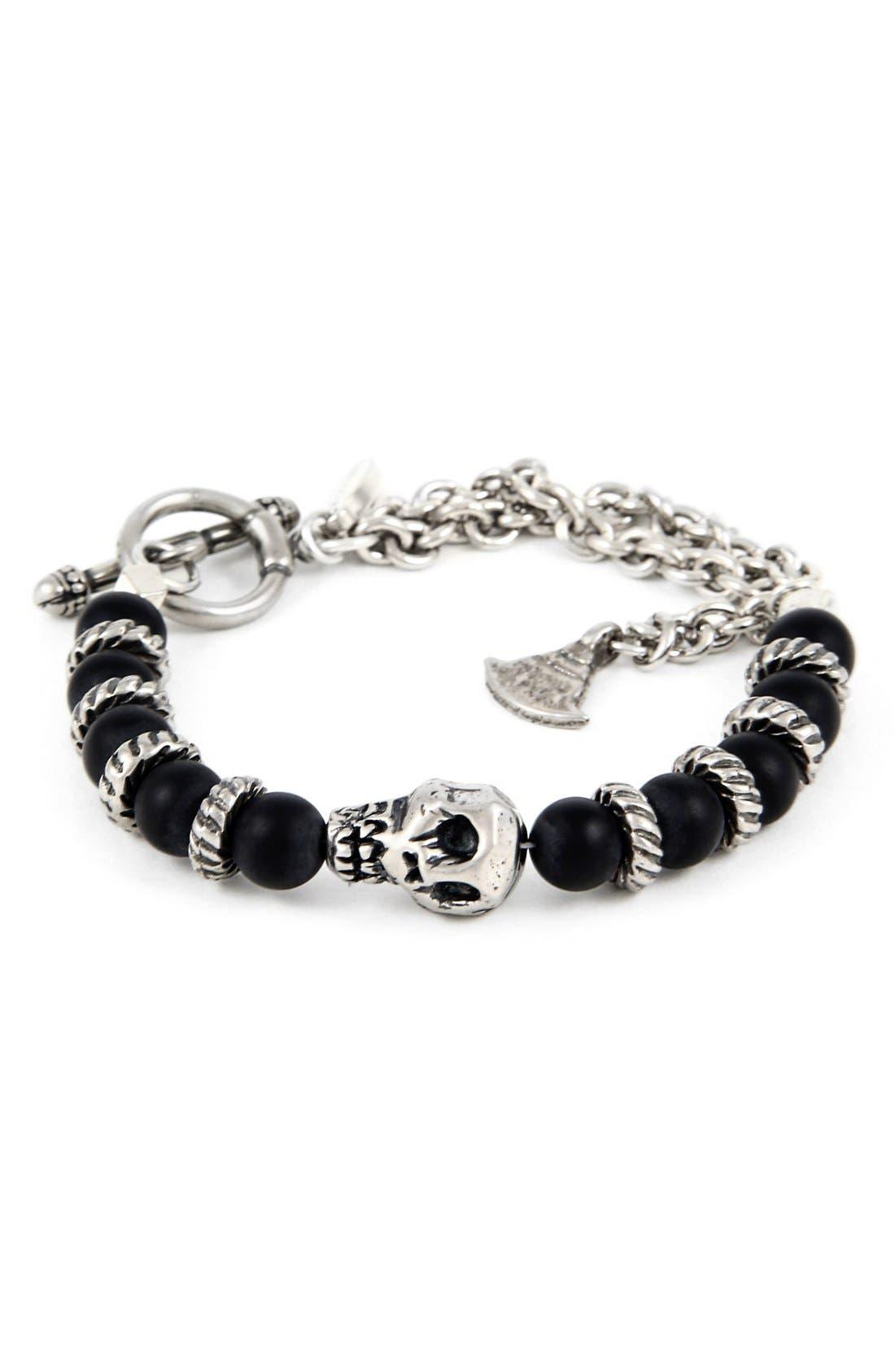 Silver Skull & Onyx Chain Bracelet,                             Main thumbnail 1, color,                             Black/ Silver