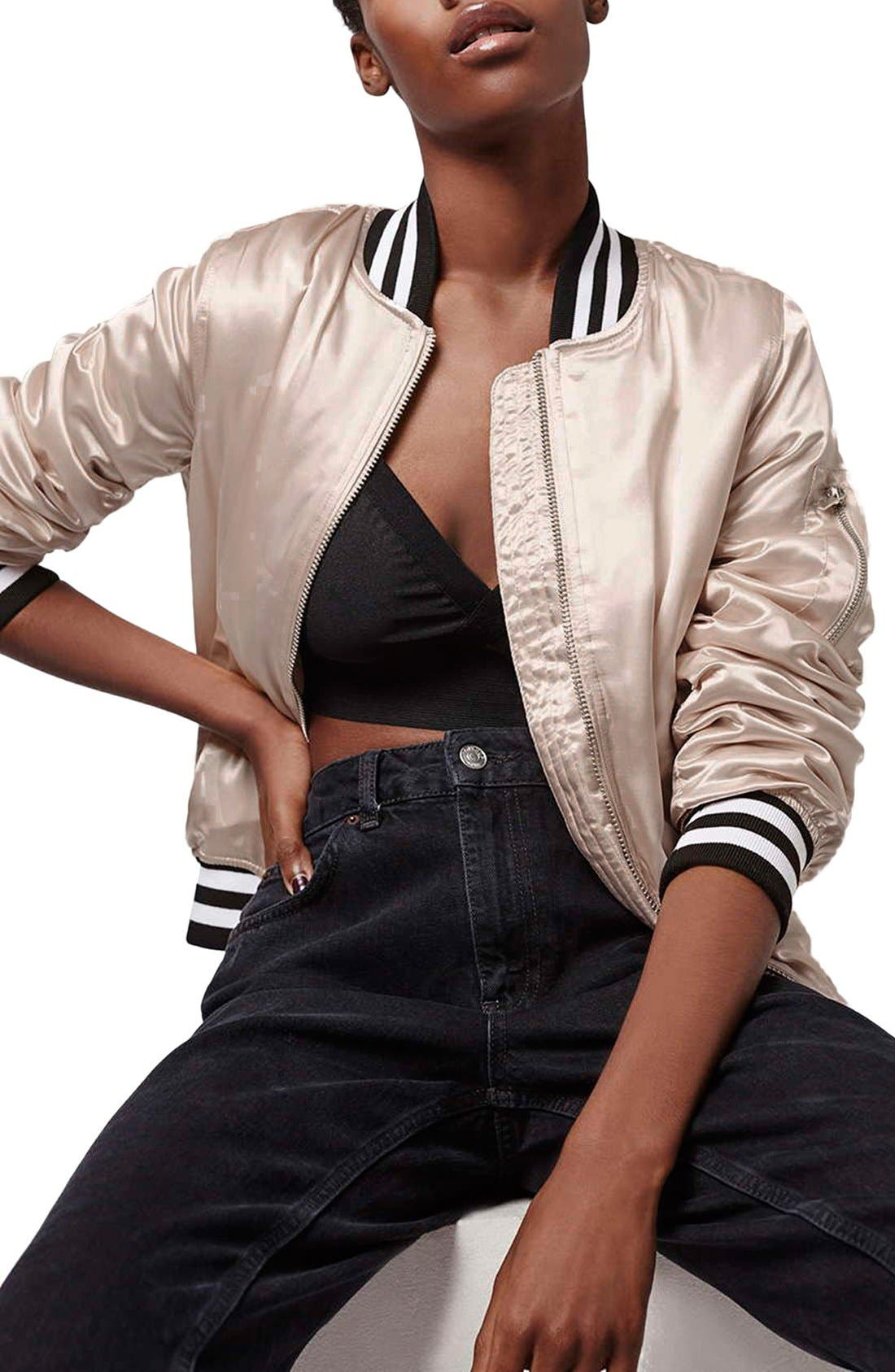 'MA1' Shiny Bomber Jacket,                         Main,                         color, Pale Pink Multi