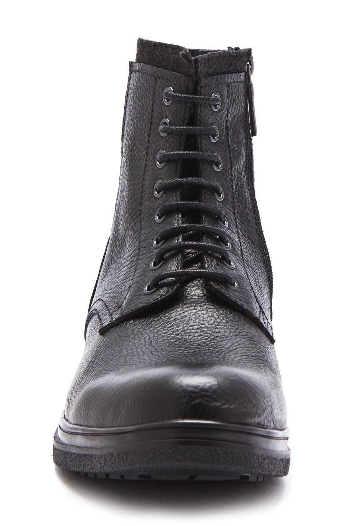'Backoff' Waterproof Plain Toe Boot,                             Alternate thumbnail 3, color,                             Black Leather