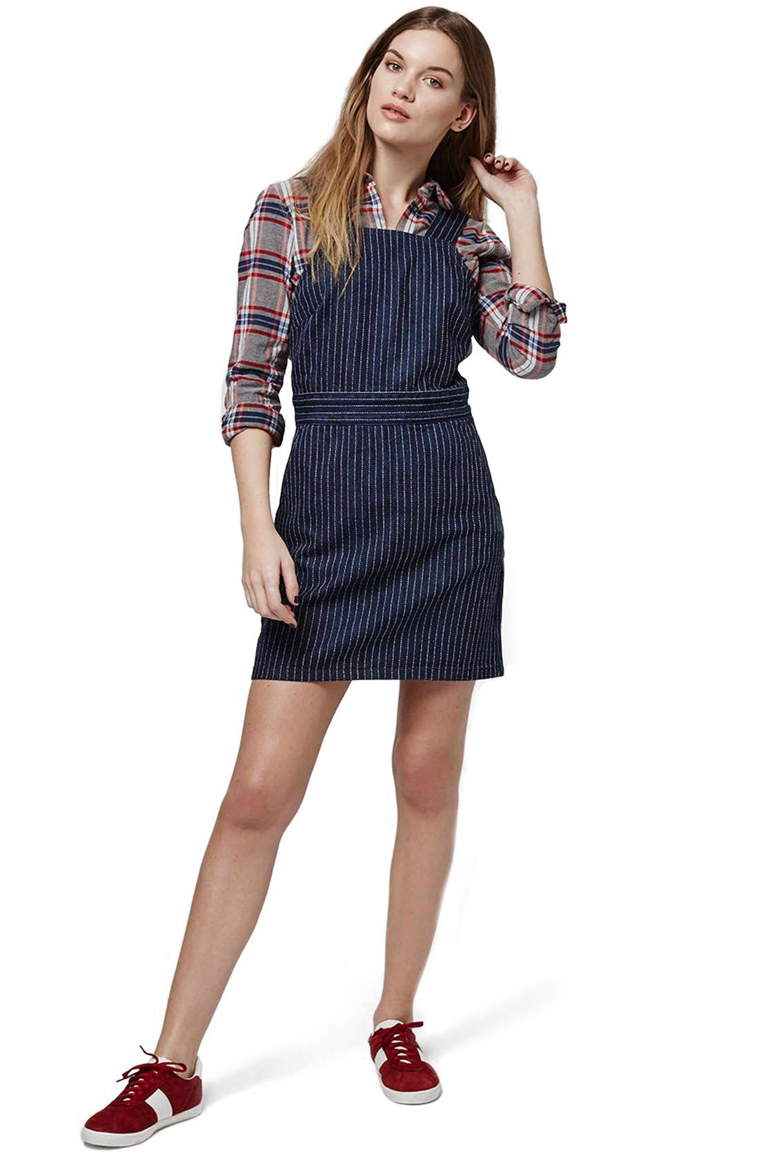 Alternate Image 2  - Topshop Pinstripe Denim Pinafore Dress