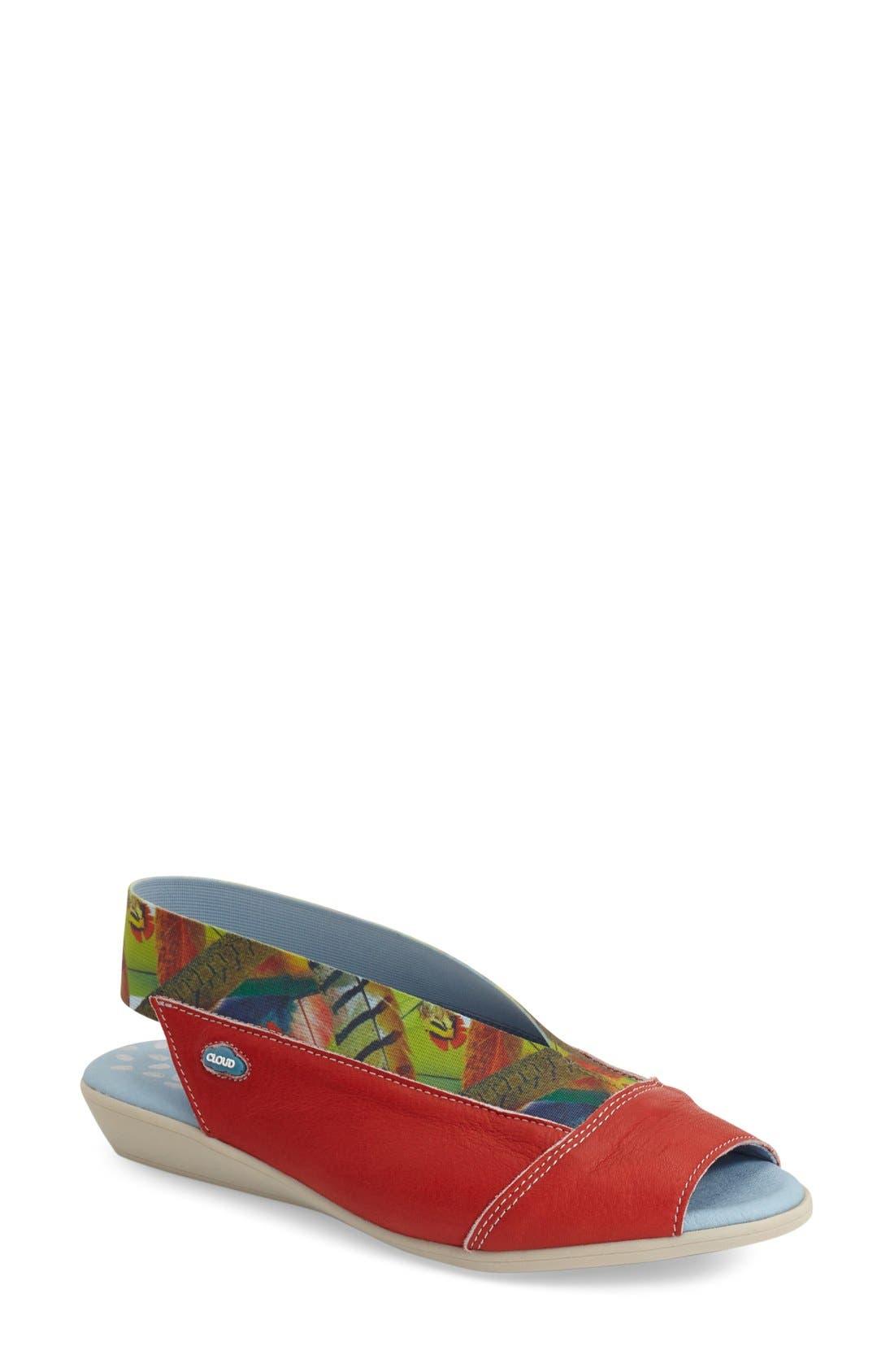 'Caliber' Peep Toe Leather Flat,                         Main,                         color, Red Safari Leather