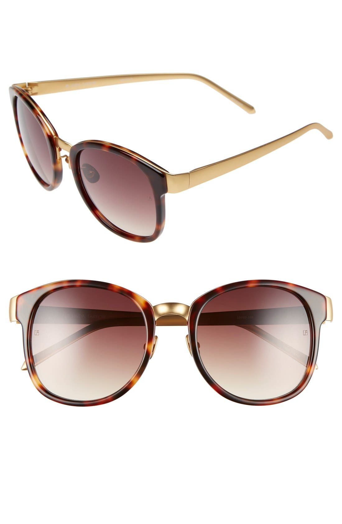LINDA FARROW D-Frame 52mm 24 Karat Gold Trim Sunglasses
