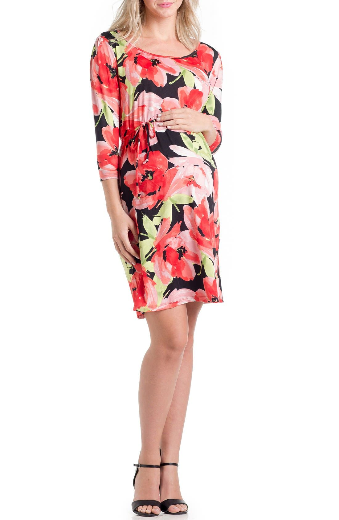 Print Maternity Dress,                         Main,                         color, Floral