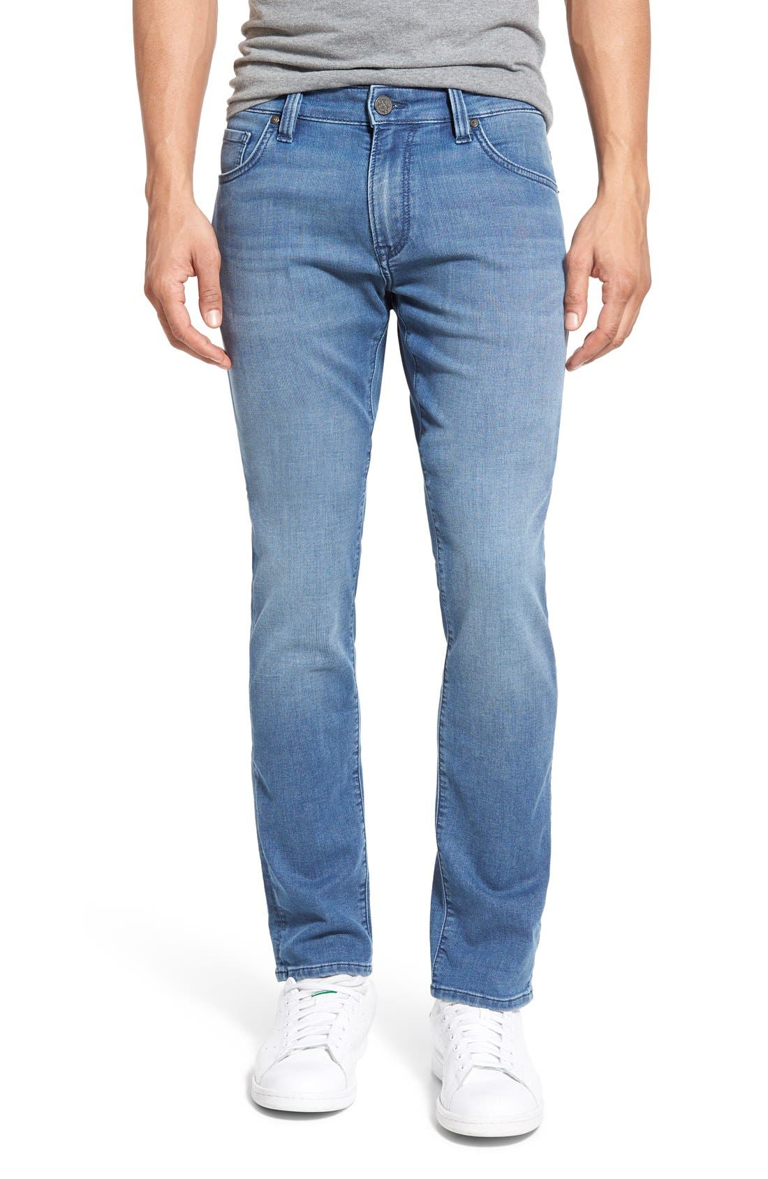 'Courage' Straight Leg Jeans,                             Main thumbnail 1, color,                             Light Indigo Sporty