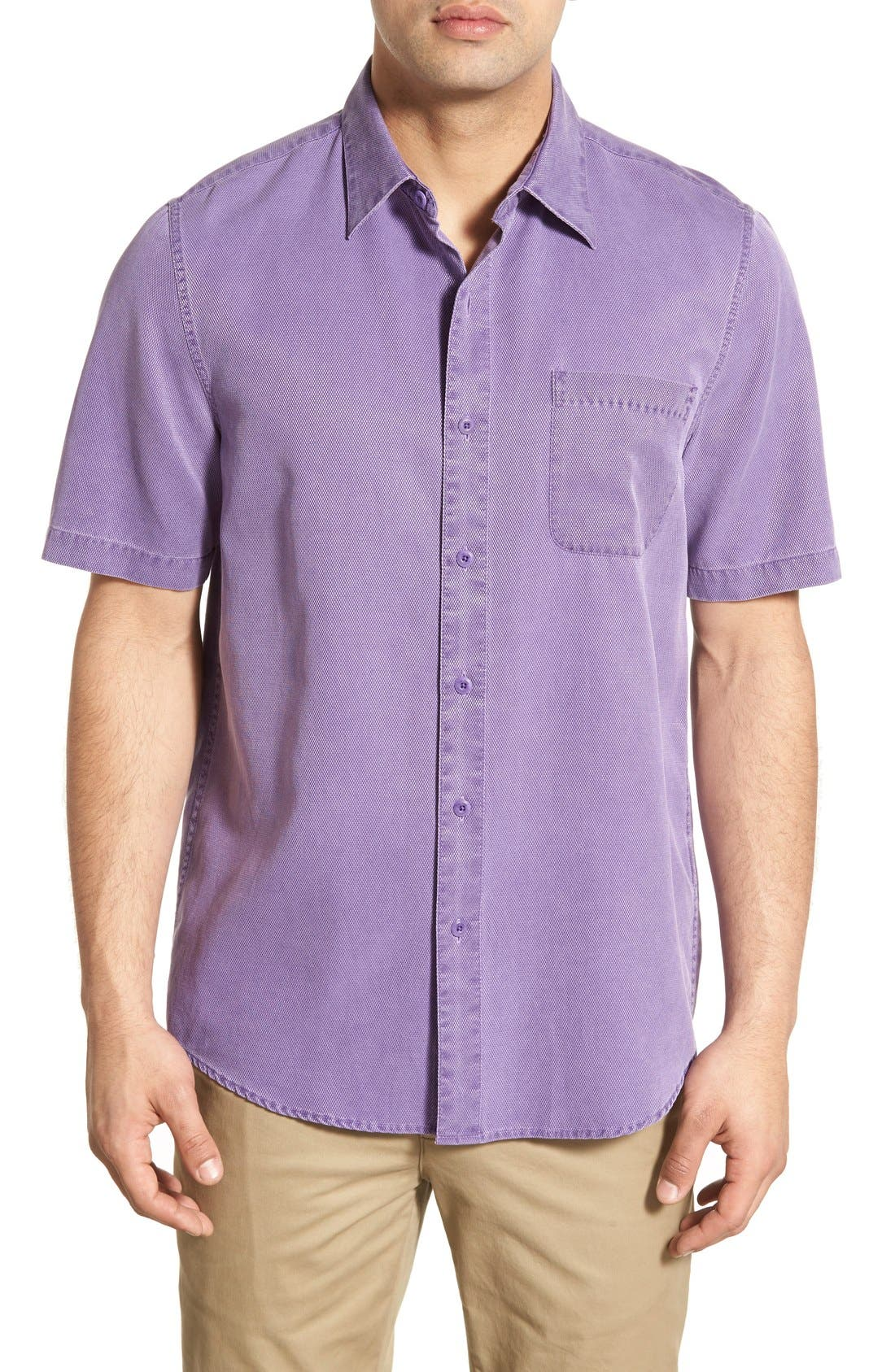 'Havana Cloth' Regular Fit Short Sleeve Silk & Cotton Sport Shirt,                         Main,                         color, Violet