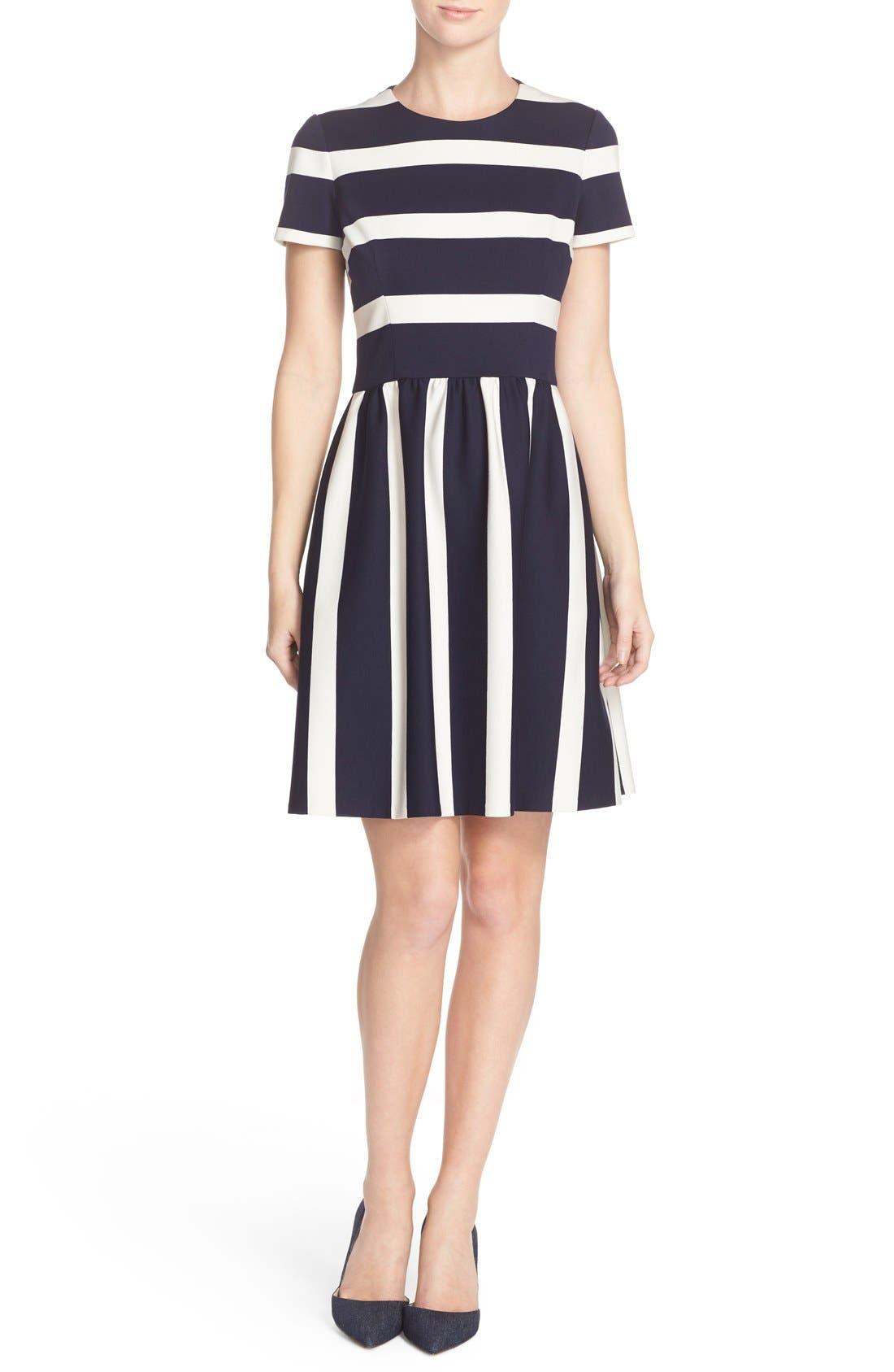 Alternate Image 4  - Eliza J Stripe Knit Fit & Flare Dress (Regular & Petite)