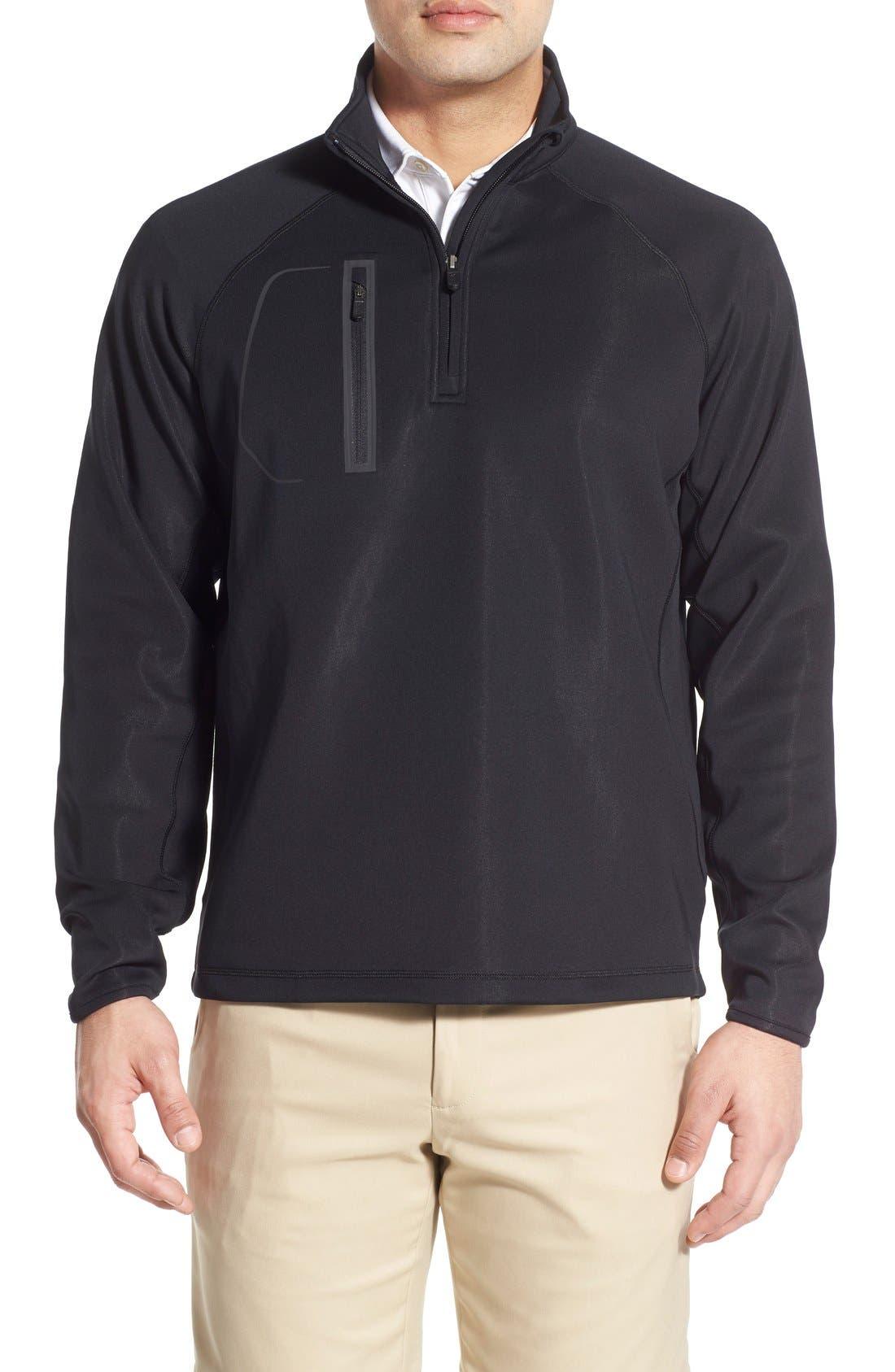 XH2O Crawford Stretch Quarter Zip Golf Pullover,                         Main,                         color, Black