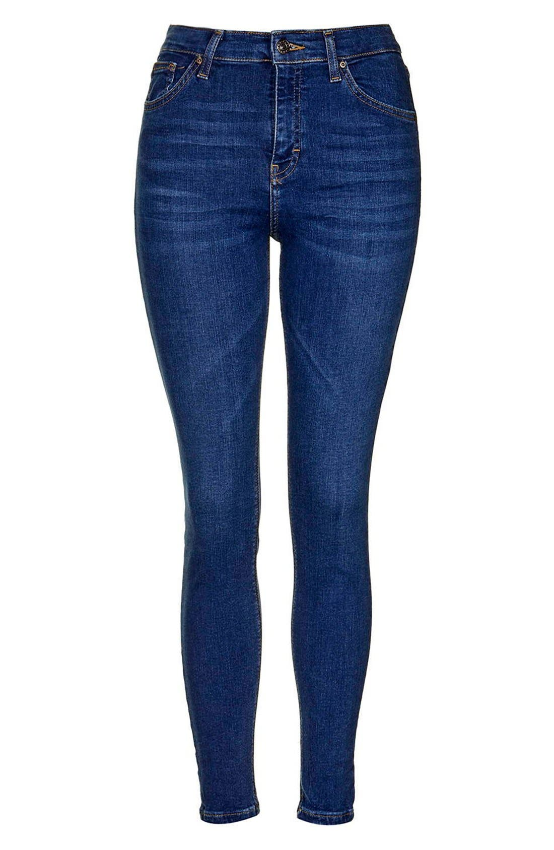 Alternate Image 4  - Topshop 'Jamie' High Rise Ankle Skinny Jeans (Petite)